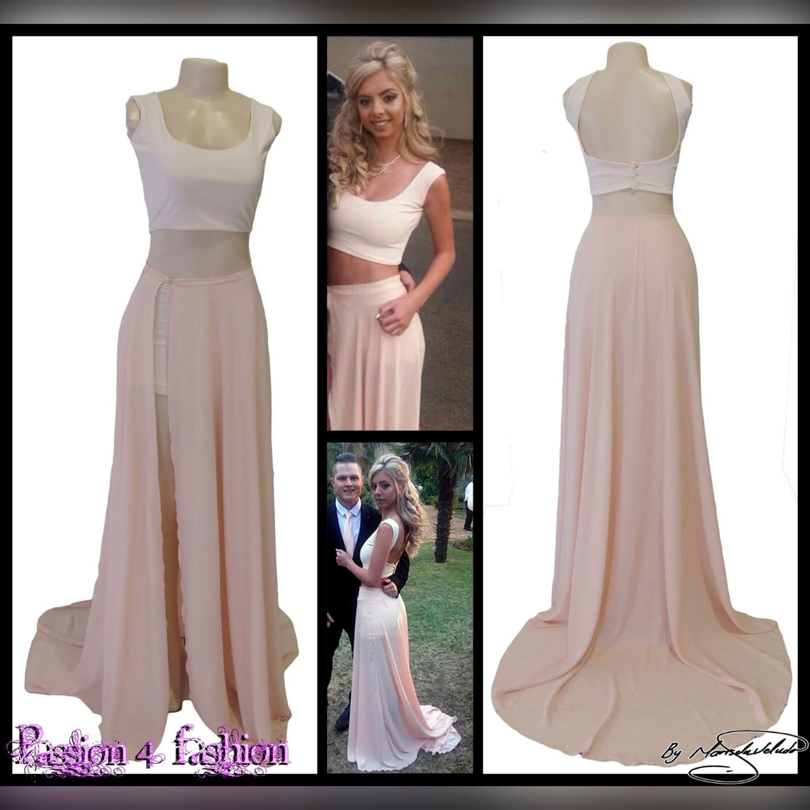 2 piece nude and white smart casual prom dress 4 2 piece nude and white smart casual prom dress. White crop top with a rounded neckline, low open back closed with buttons. Long chiffon skirt with a slit and a train.