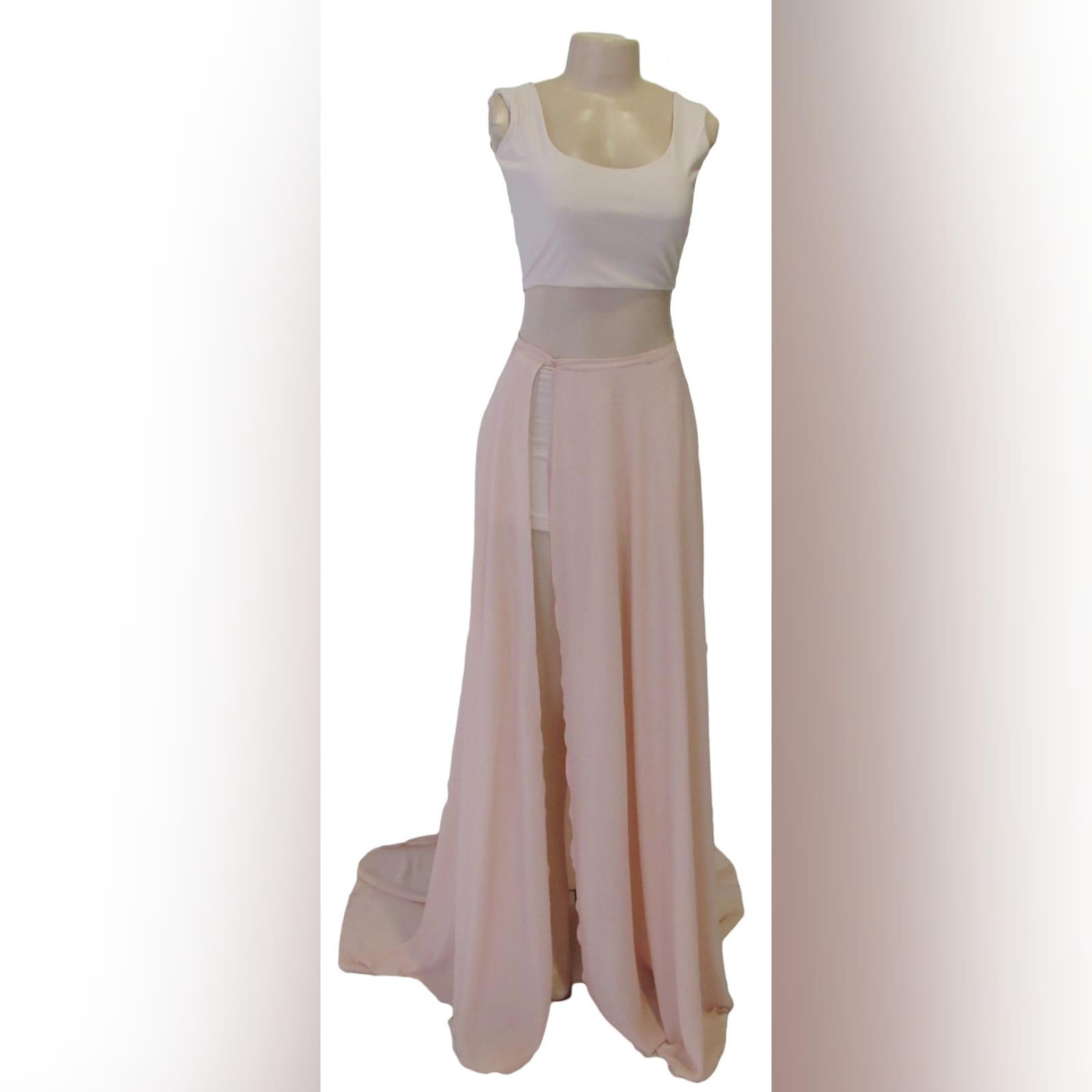 2 piece nude and white smart casual prom dress 5 2 piece nude and white smart casual prom dress. White crop top with a rounded neckline, low open back closed with buttons. Long chiffon skirt with a slit and a train.