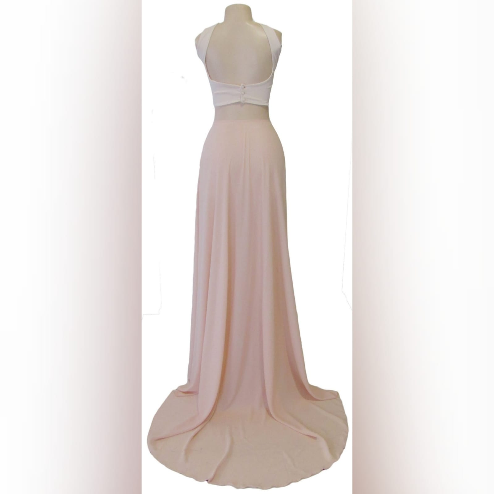 2 piece nude and white smart casual prom dress 6 2 piece nude and white smart casual prom dress. White crop top with a rounded neckline, low open back closed with buttons. Long chiffon skirt with a slit and a train.