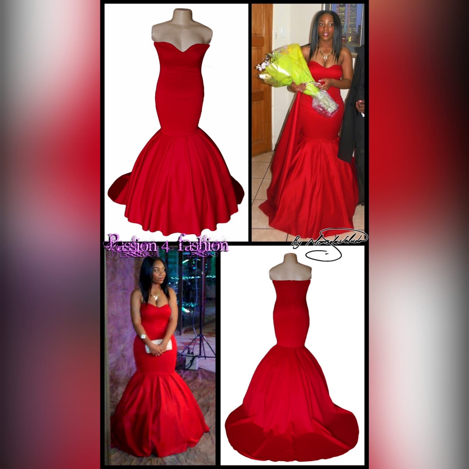 Bright red boobtube mermaid prom dress 3 bright red boobtube mermaid prom dress with a sweetheart neckline, bottom with volume and a train.
