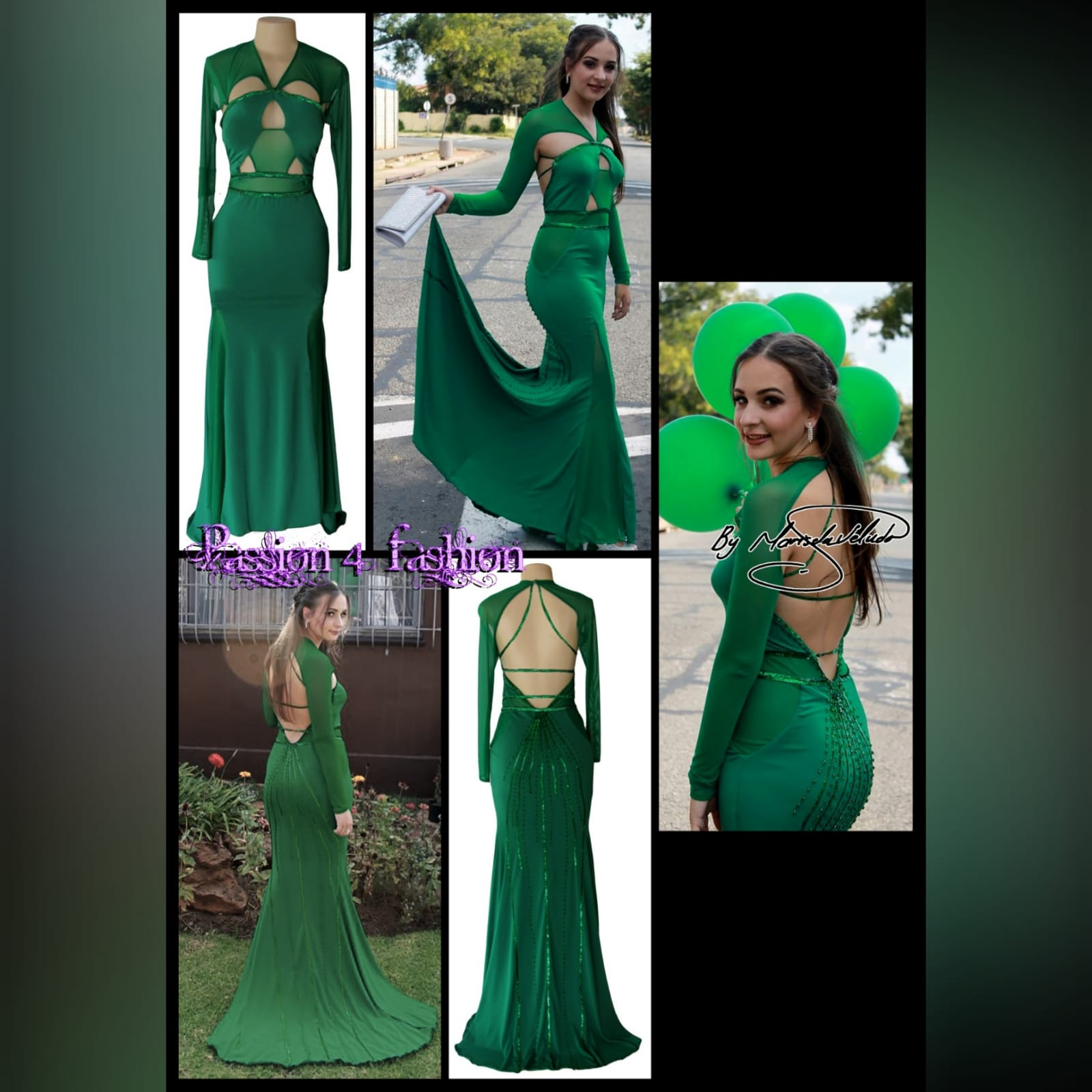 Green soft mermaid sexy unique evening dress 5 green soft mermaid sexy unique evening dress. Long sleeves, shoulders and leg panels in a slightly translucent fabric. A low open back detailed with sequins and beads.