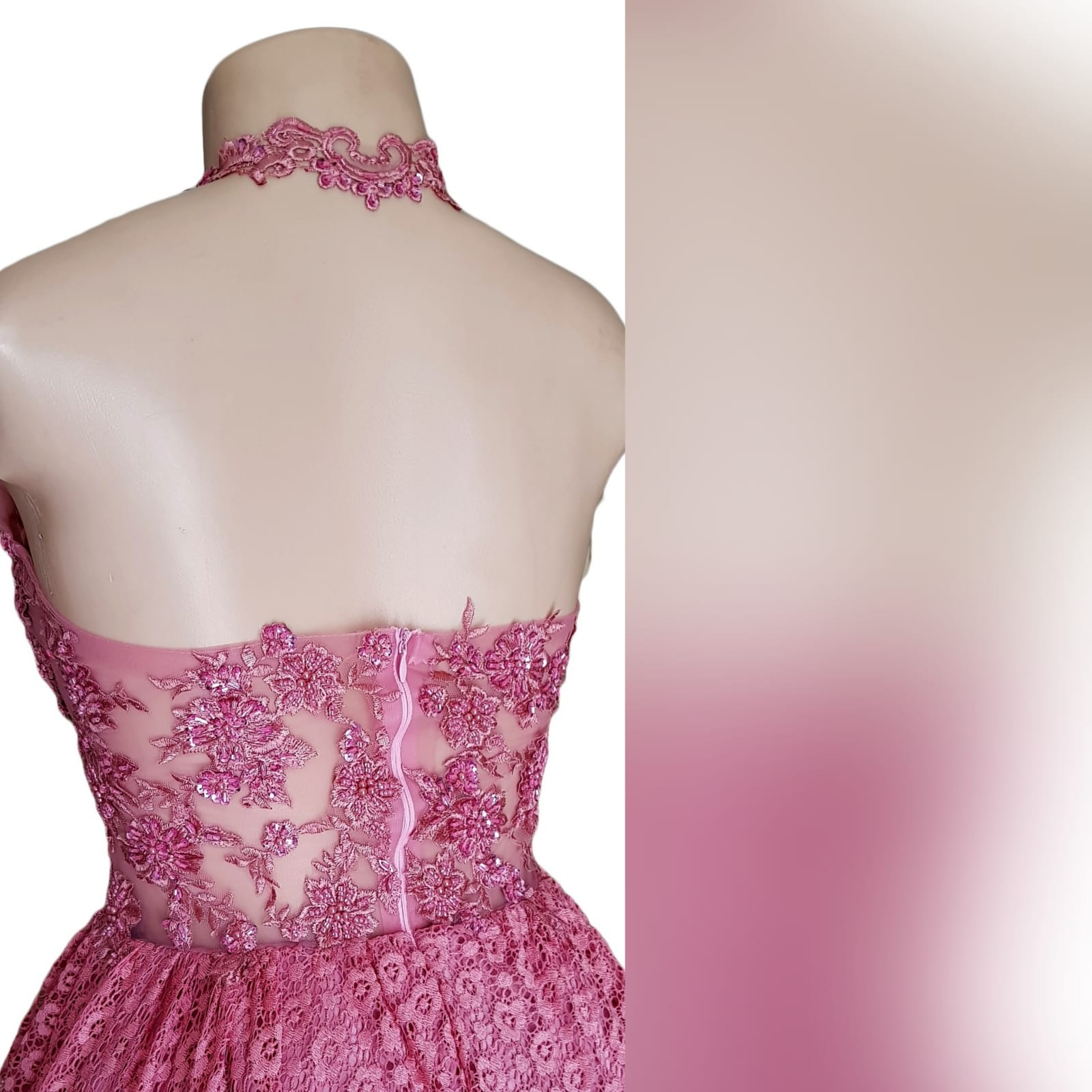 High low dusty pink prom dress 2 high low dusty pink prom dress with an illusion bodice detailed with beaded lace. Bottom fully laced.