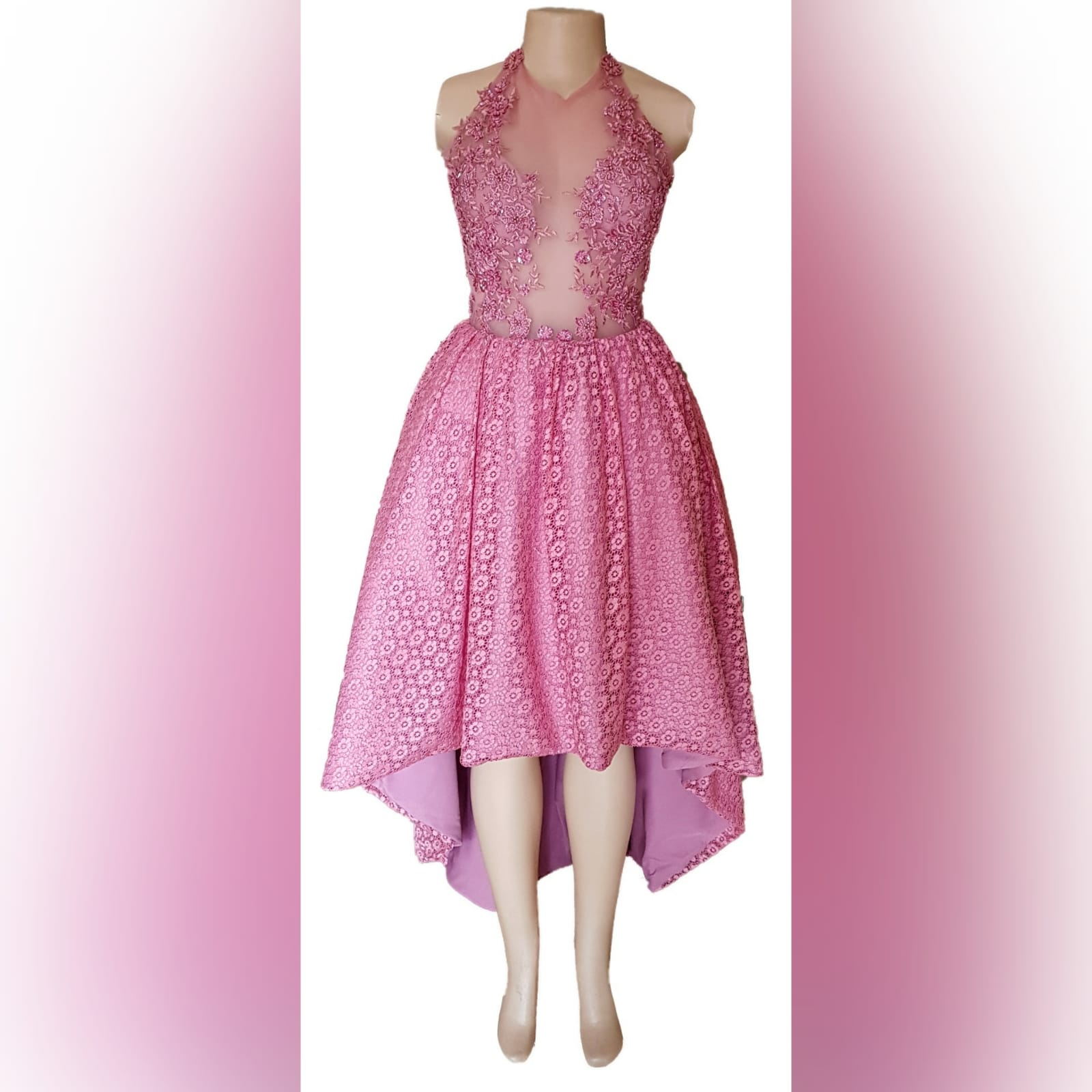 High low dusty pink prom dress 4 high low dusty pink prom dress with an illusion bodice detailed with beaded lace. Bottom fully laced.
