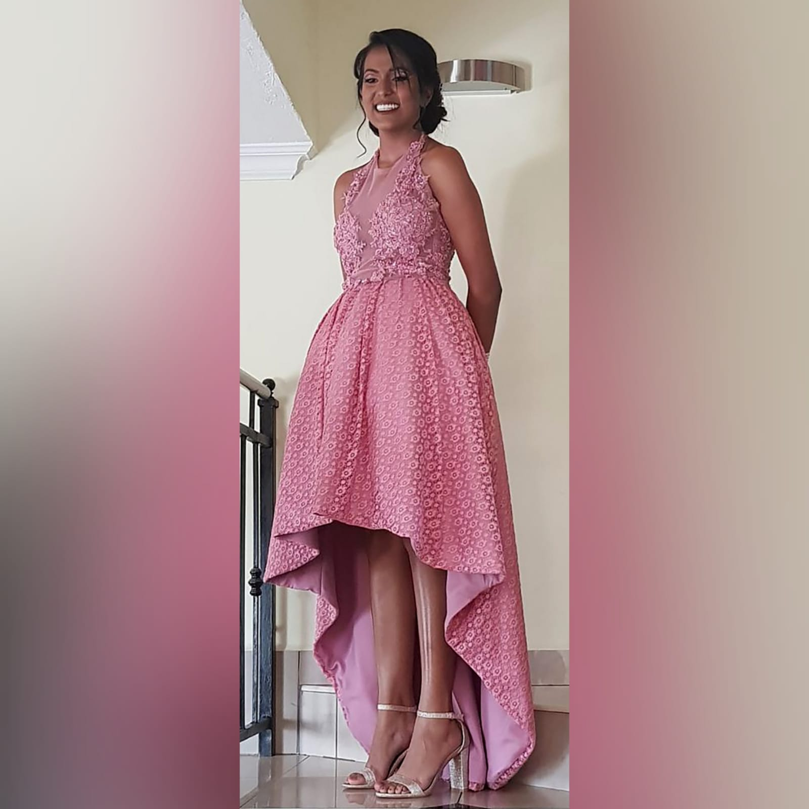 High low dusty pink prom dress 6 high low dusty pink prom dress with an illusion bodice detailed with beaded lace. Bottom fully laced.