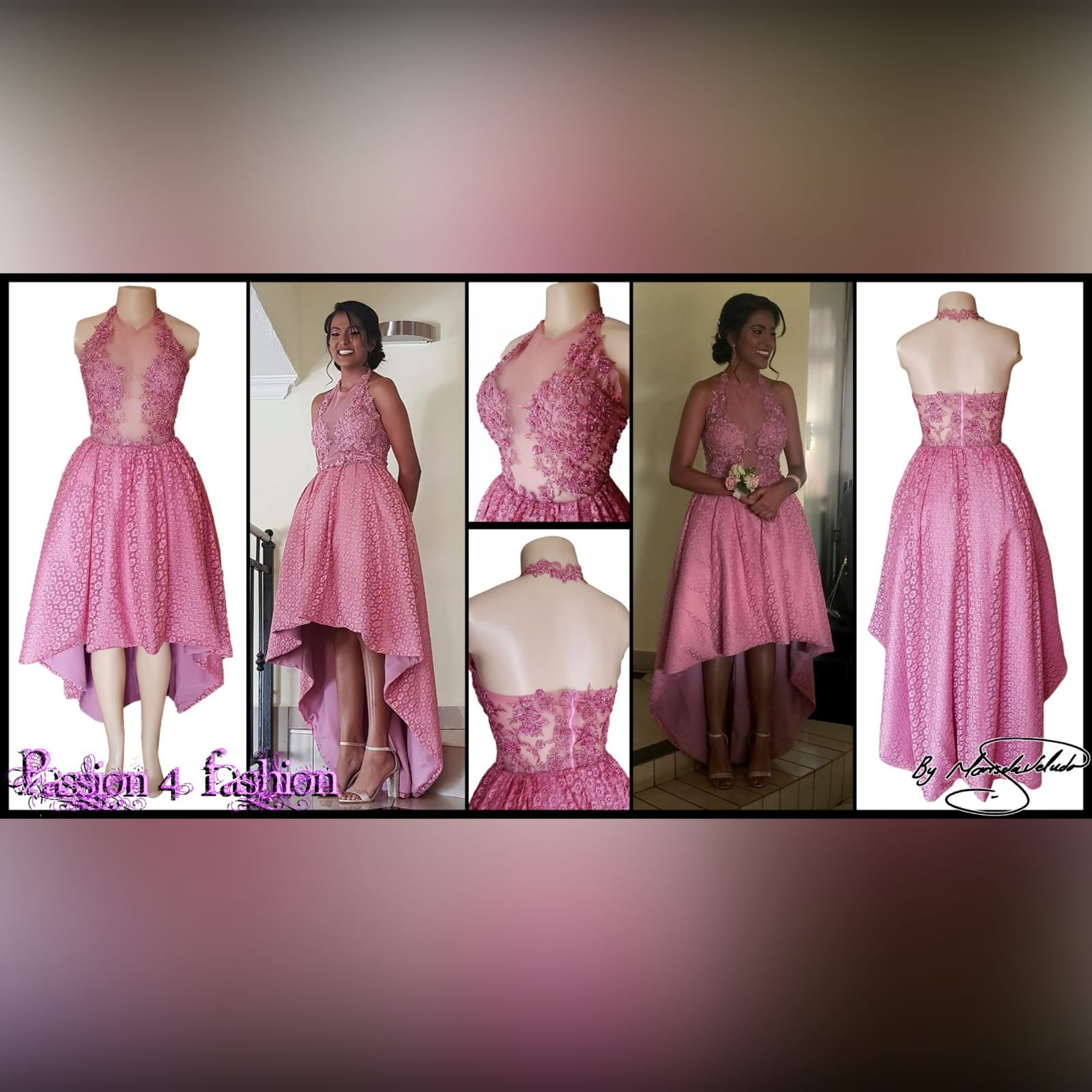 High low dusty pink prom dress 7 high low dusty pink prom dress with an illusion bodice detailed with beaded lace. Bottom fully laced.