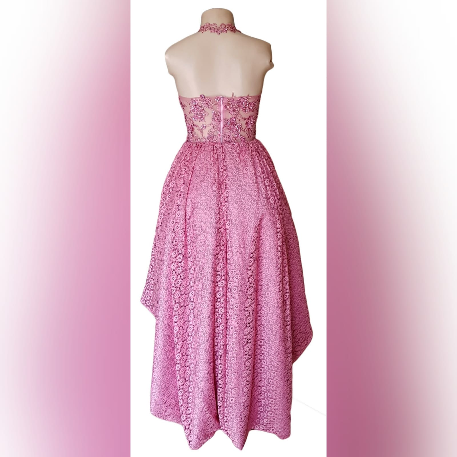 High low dusty pink prom dress 8 high low dusty pink prom dress with an illusion bodice detailed with beaded lace. Bottom fully laced.
