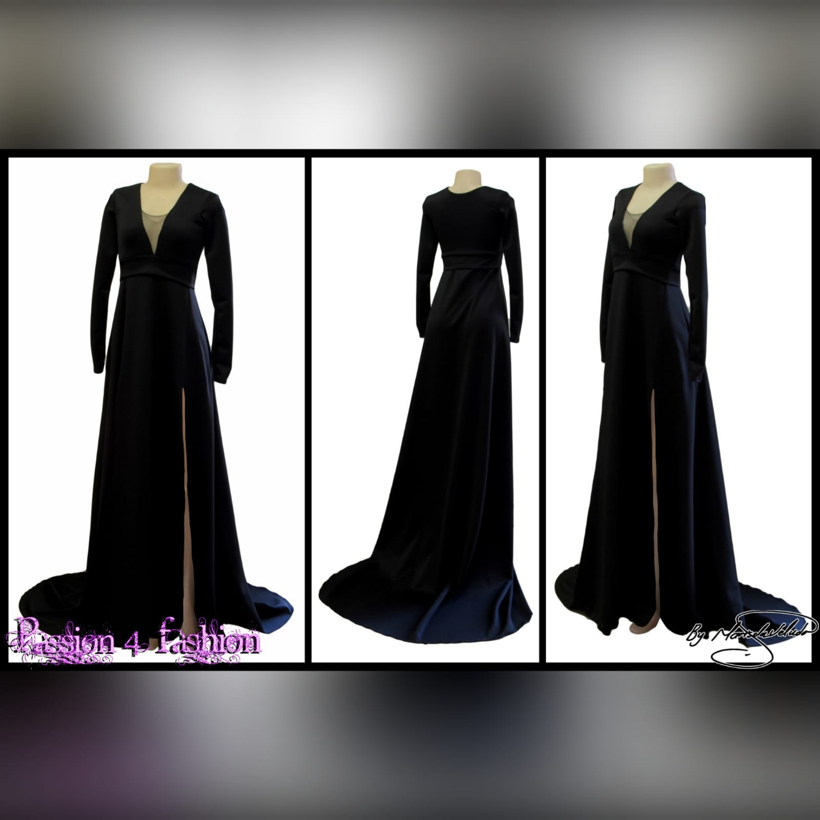 Long black a-line formal dress 3 long black a-line formal dress with an illusion v neckline, long sleeves a slit and a train.