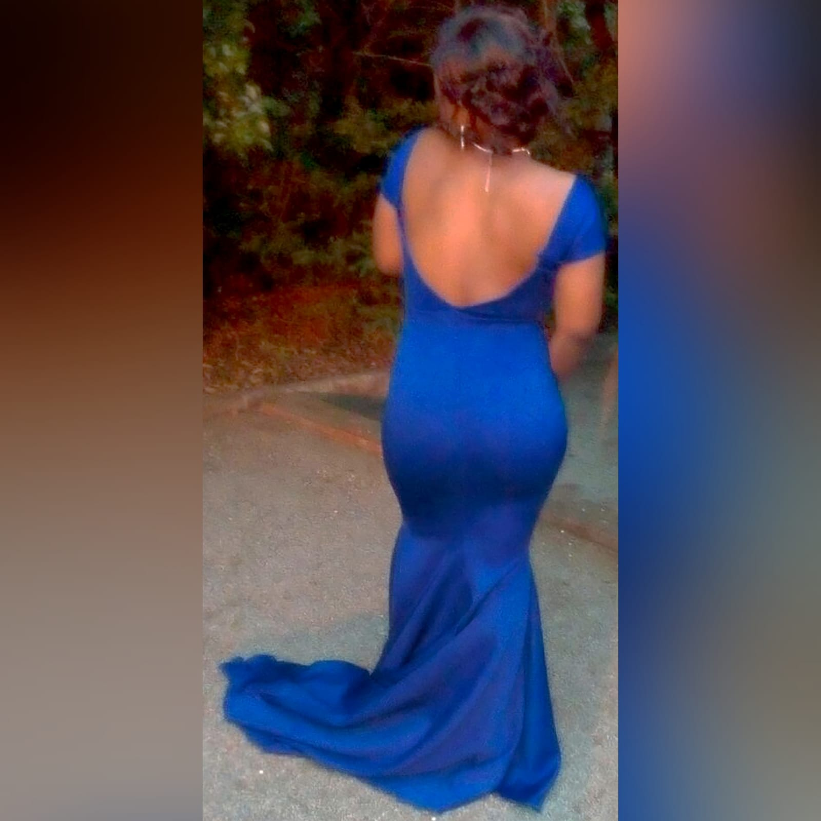 Royal blue off shoulder soft mermaid matric dance dress 6 royal blue off shoulder soft mermaid prom dress with a cross bust strap creating off shoulder sleeves and a rounded open back, with a train.