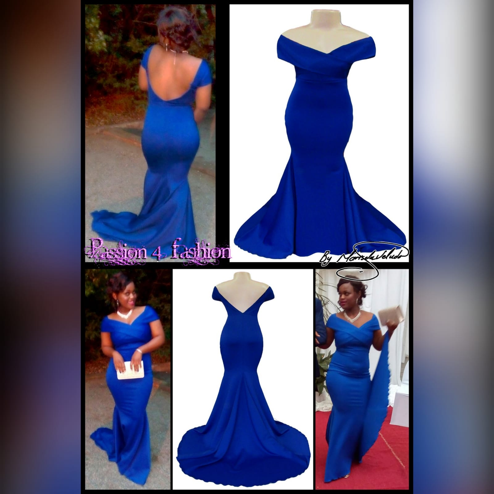 Royal blue off shoulder soft mermaid matric dance dress 3 royal blue off shoulder soft mermaid prom dress with a cross bust strap creating off shoulder sleeves and a rounded open back, with a train.