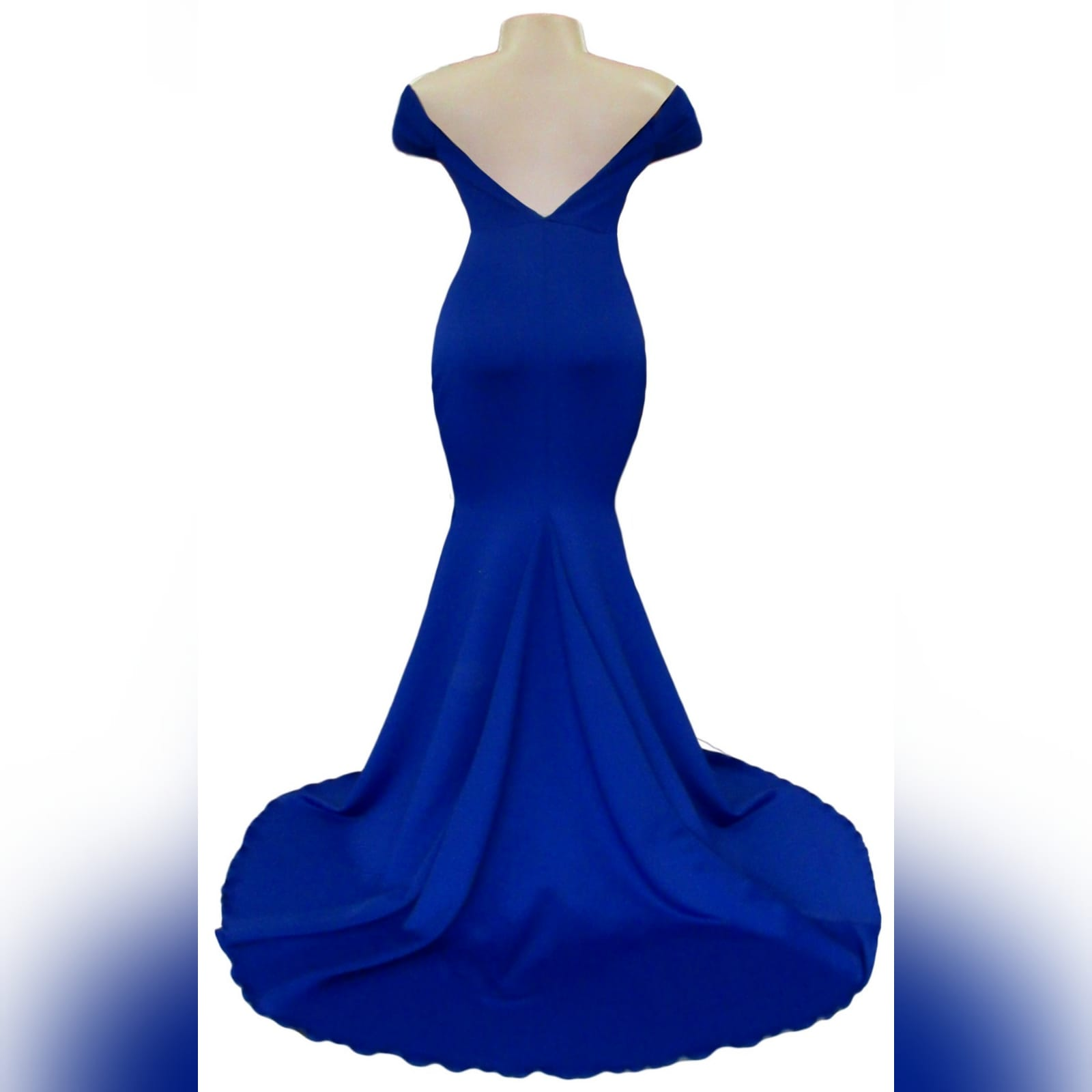 Royal blue off shoulder soft mermaid matric dance dress 4 royal blue off shoulder soft mermaid prom dress with a cross bust strap creating off shoulder sleeves and a rounded open back, with a train.