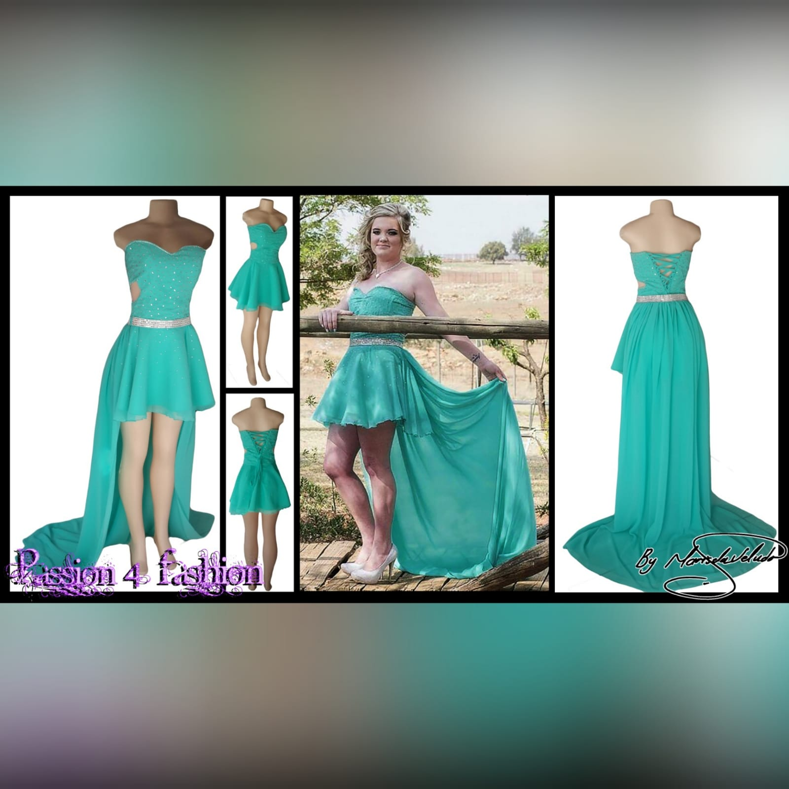 Turquoise 2 piece high low prom dress 4 turquoise 2 piece high low prom dress. Boobtube short dress with a sweetheart neckline and side tummy opening, lace-up back with bodice beaded in silver. With a detachable chiffon train creating a high low effect, with a wide silver belt.