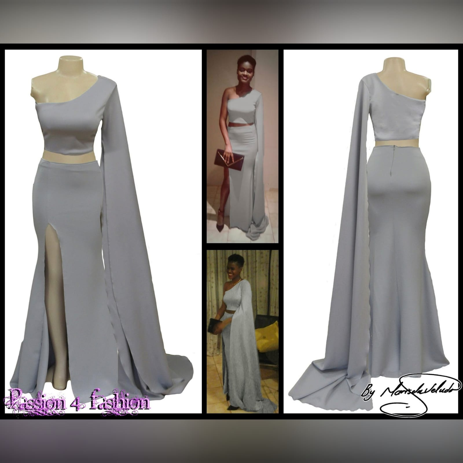 2 piece light grey prom dress 4 2 piece light grey prom dress, crop top with a single shoulder and a long wide sleeve creating a train. With a fitted long skirt, with a high slit.