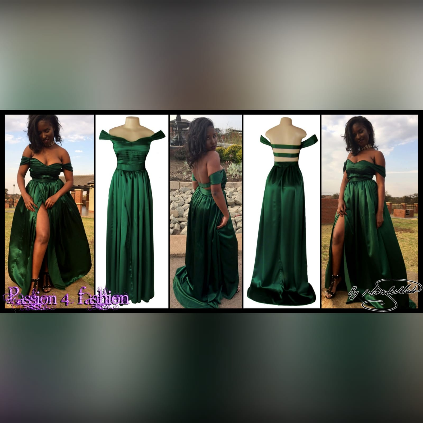 Emerald green satin flowy formal dress 5 emerald green satin off shoulder flowy formal dress, with a pleated bodice off shoulder short sleeves, naked back detailed with straps. A crossed slit and a small train.