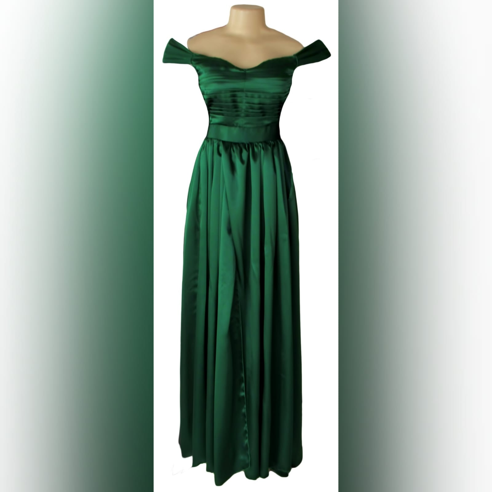 Emerald green satin flowy formal dress 6 emerald green satin off shoulder flowy formal dress, with a pleated bodice off shoulder short sleeves, naked back detailed with straps. A crossed slit and a small train.