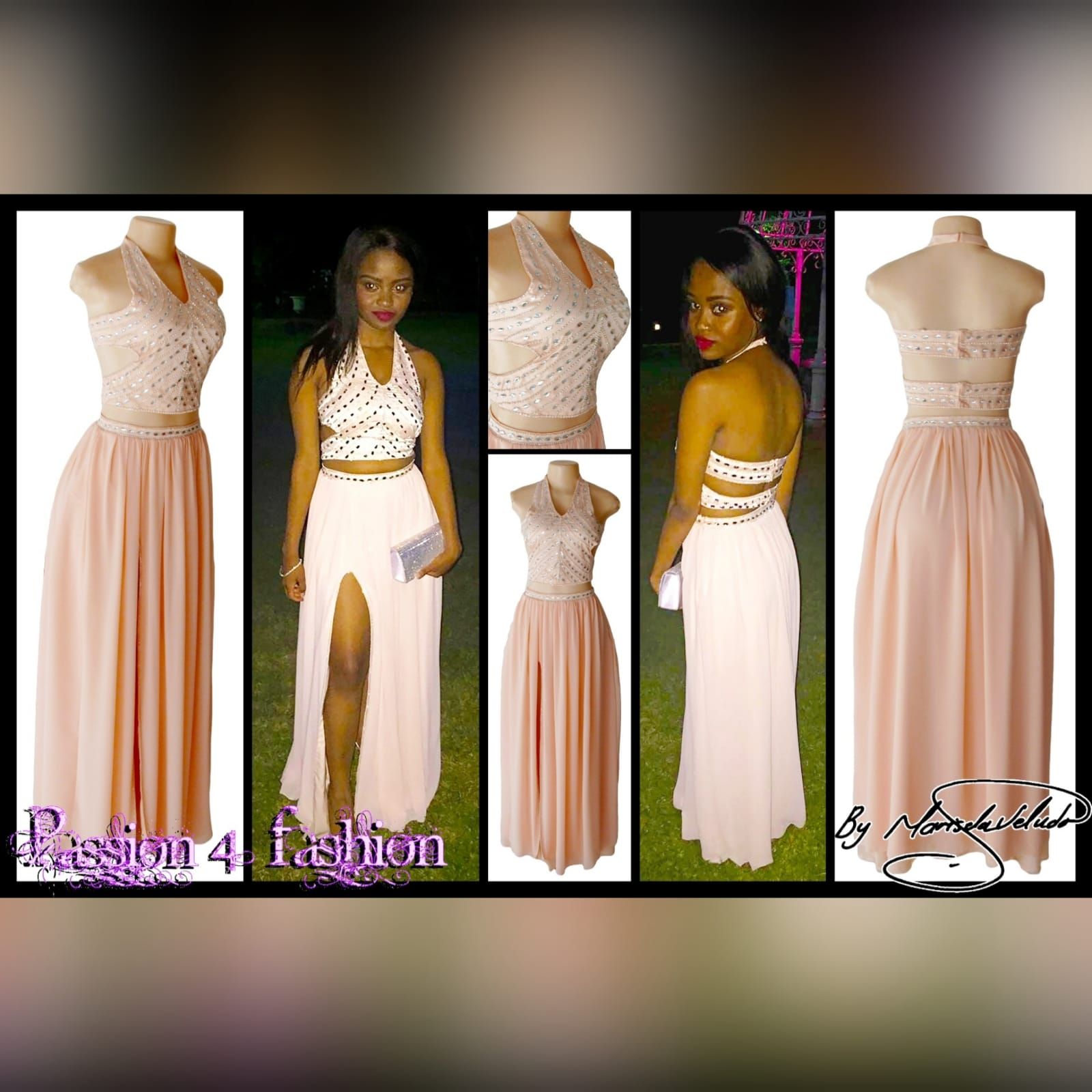 Pink nude 2 piece prom dress 4 pink nude 2 piece prom dress with crop top open on the sides, halter neck creating a v neckline with a naked back detailed with straps. Top detailed with patterned silver beading. Flowy long skirt with a slit and waistband detailed with silver beads.