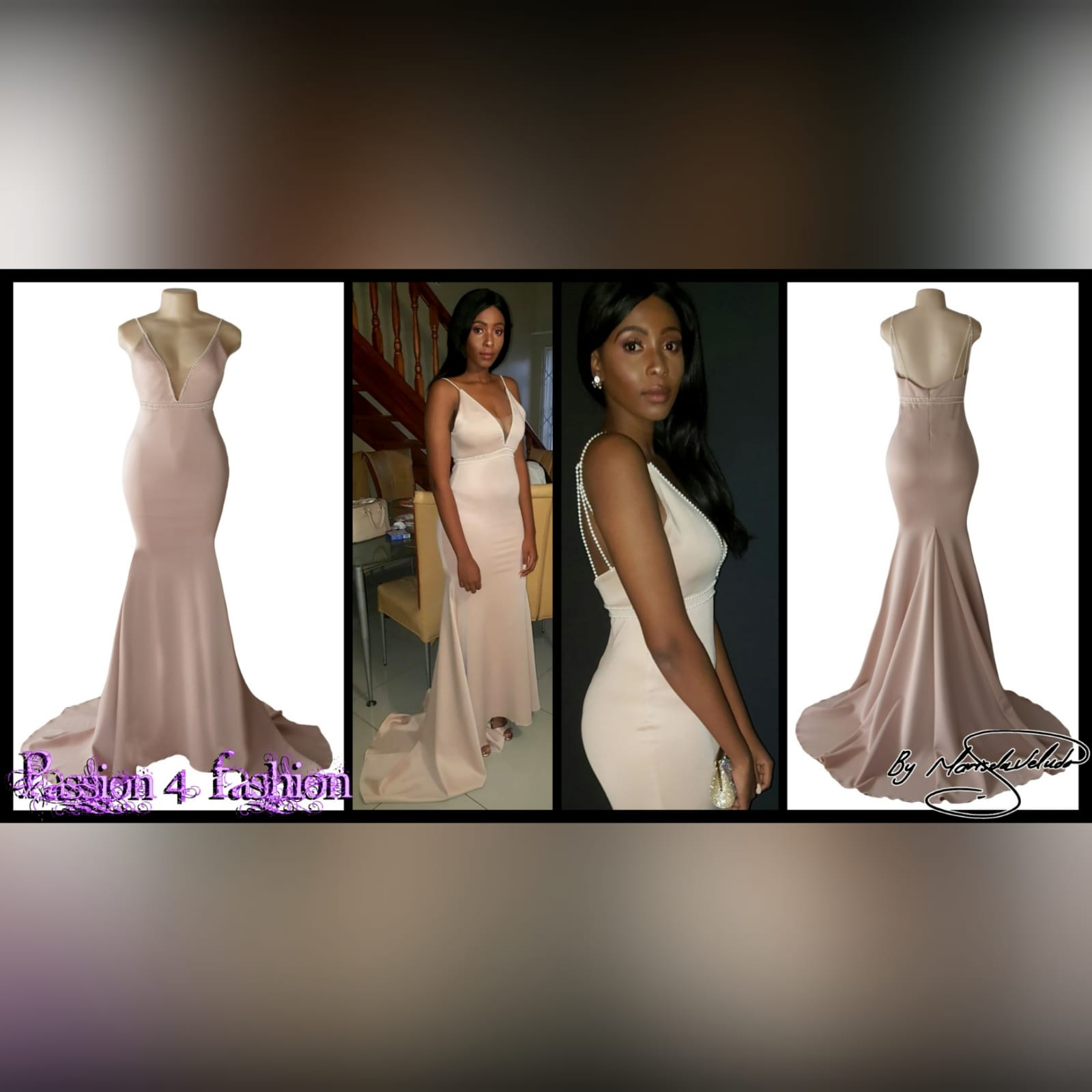 Pink nude soft mermaid prom dress with pearls 6 pink nude soft mermaid prom dress with an illusion plunging neckline, with a low open back, detailed with pearls on the waist and shoulder straps.