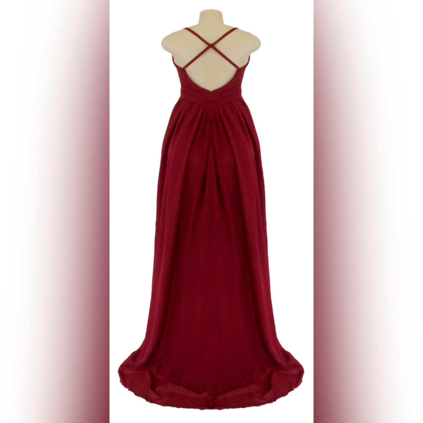 Red long chiffon formal dress 6 red long chiffon formal dress with a v neckline, 2 high slits, rounded open back with thin crossed shoulder straps.