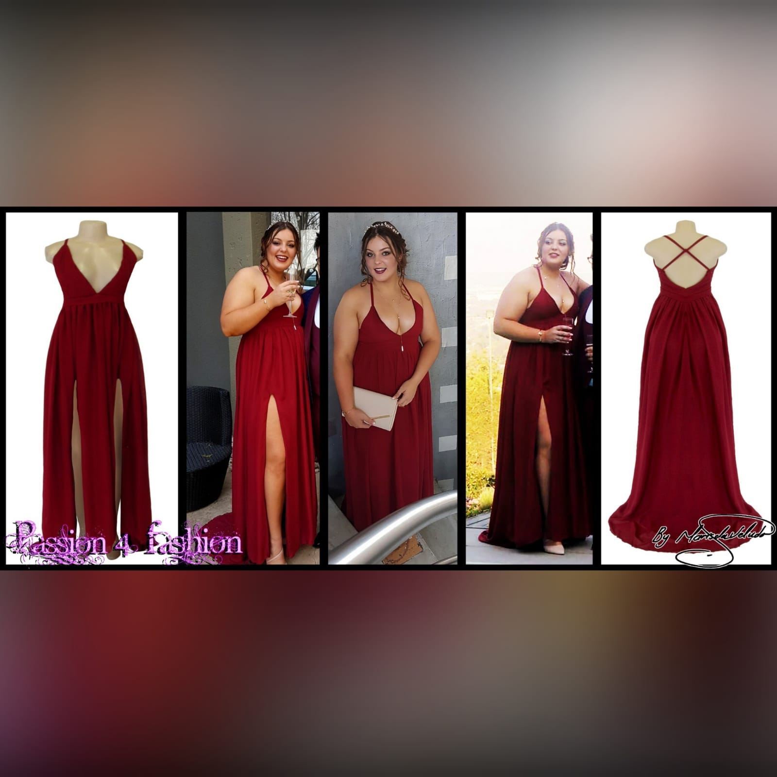 Red long chiffon formal dress 3 red long chiffon formal dress with a v neckline, 2 high slits, rounded open back with thin crossed shoulder straps.