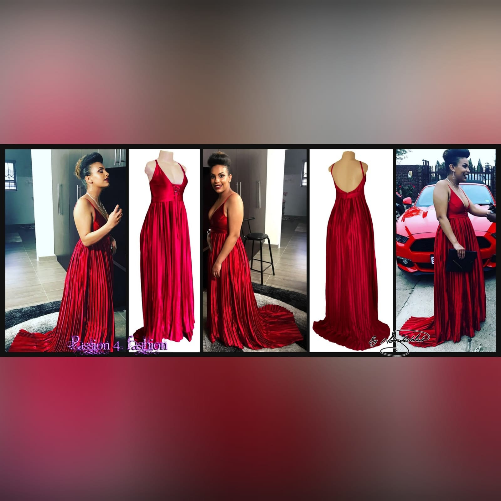 Red pleated satin long evening dress 7 red pleated satin long evening dress with a plunging neckline that closes with a lace-up. Rounded open back. Flowy pleated bottom with a small train.