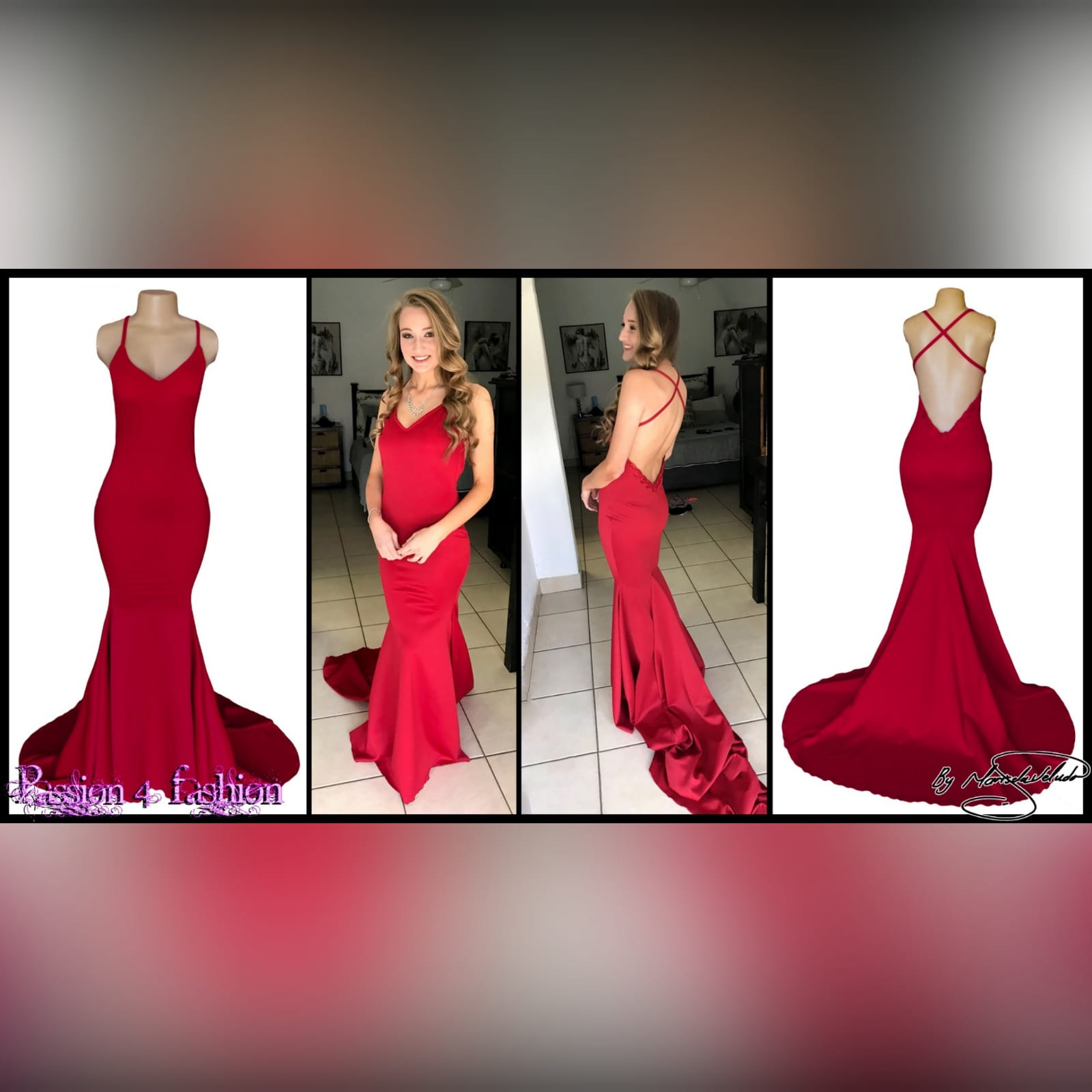 Red soft mermaid prom dress with a v neckline 3 red soft mermaid prom dress with a v neckline, a low open back and thin crossed shoulder straps, with a train.