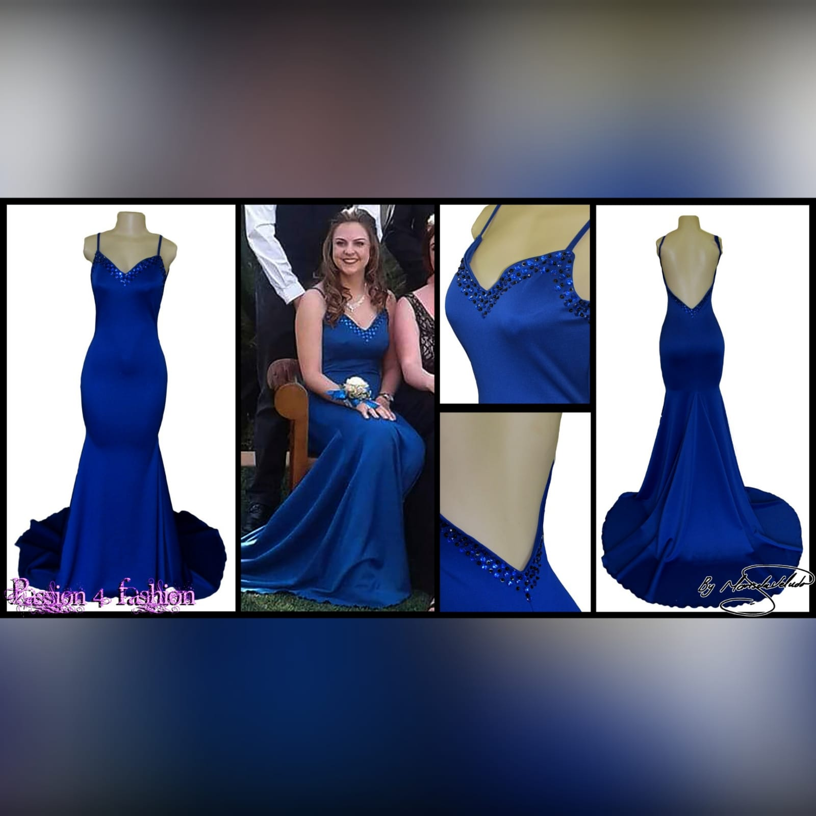 Royal blue soft mermaid beaded prom dress 5 royal blue soft mermaid beaded prom dress, with a v neckline, low v open back detailed with blue and black beads, thin shoulder straps and a long train.