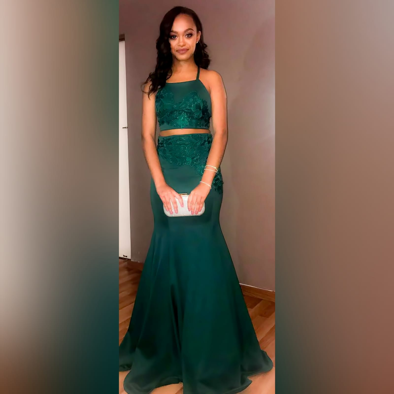 2 piece emerald green mermaid prom dress 9 2 piece emerald green mermaid prom dress. A gorgeous crop top with a lace-up open back, with a mermaid skirt. Lace detail on skirt and top for a classic touch.