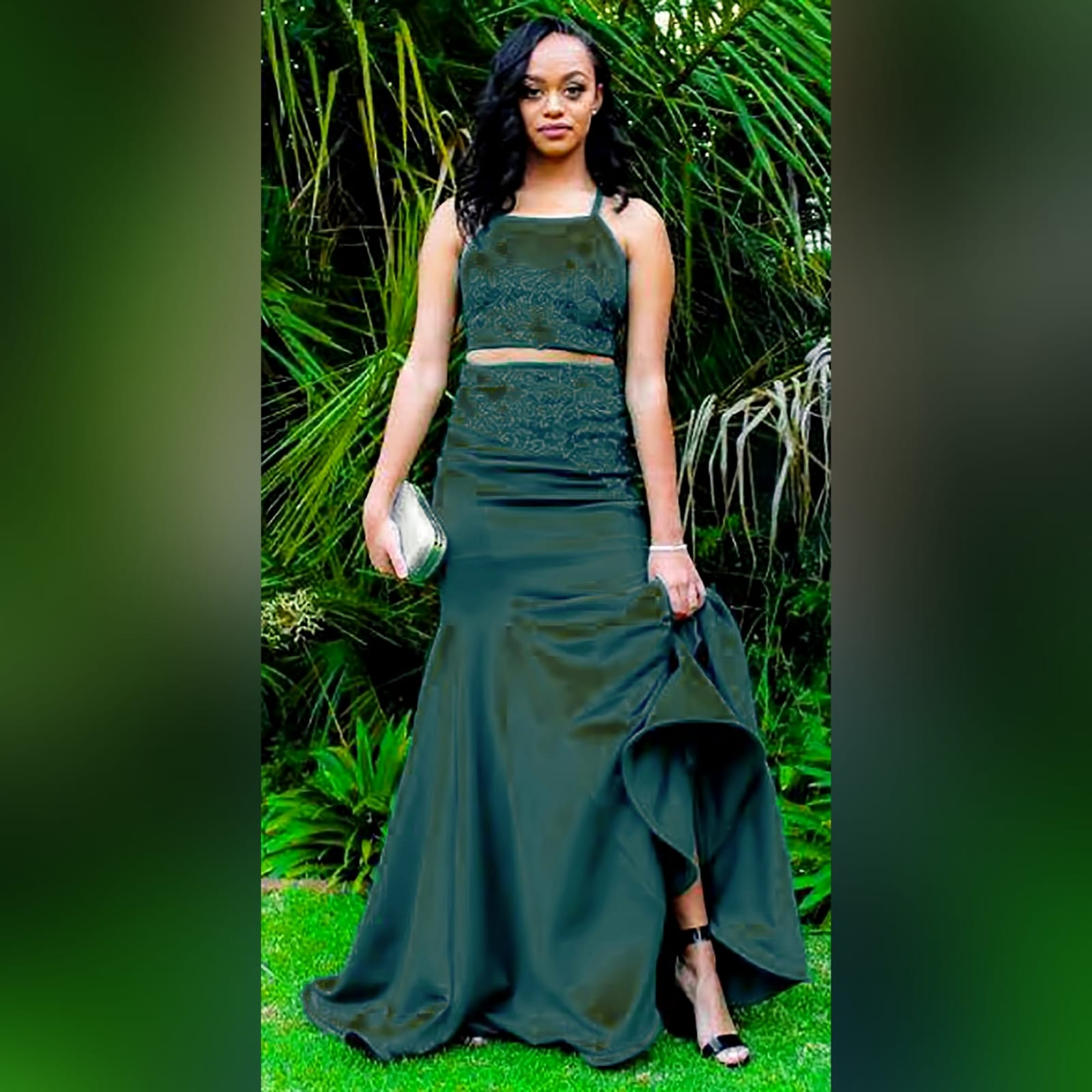 2 piece emerald green mermaid prom dress 2 2 piece emerald green mermaid prom dress. A gorgeous crop top with a lace-up open back, with a mermaid skirt. Lace detail on skirt and top for a classic touch.