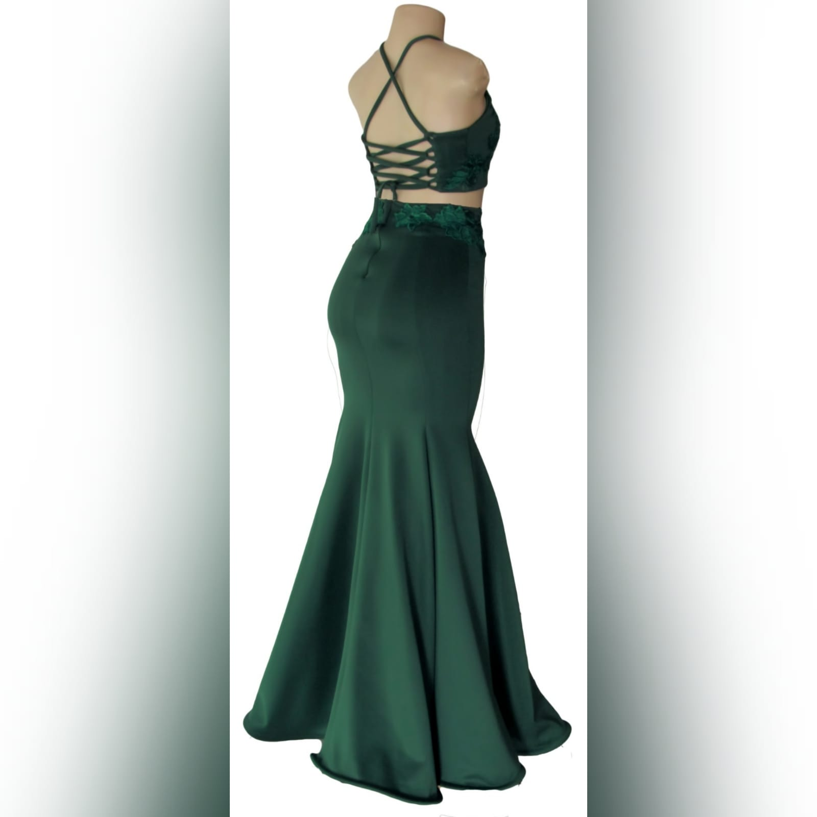 2 piece emerald green mermaid prom dress 3 2 piece emerald green mermaid prom dress. A gorgeous crop top with a lace-up open back, with a mermaid skirt. Lace detail on skirt and top for a classic touch.