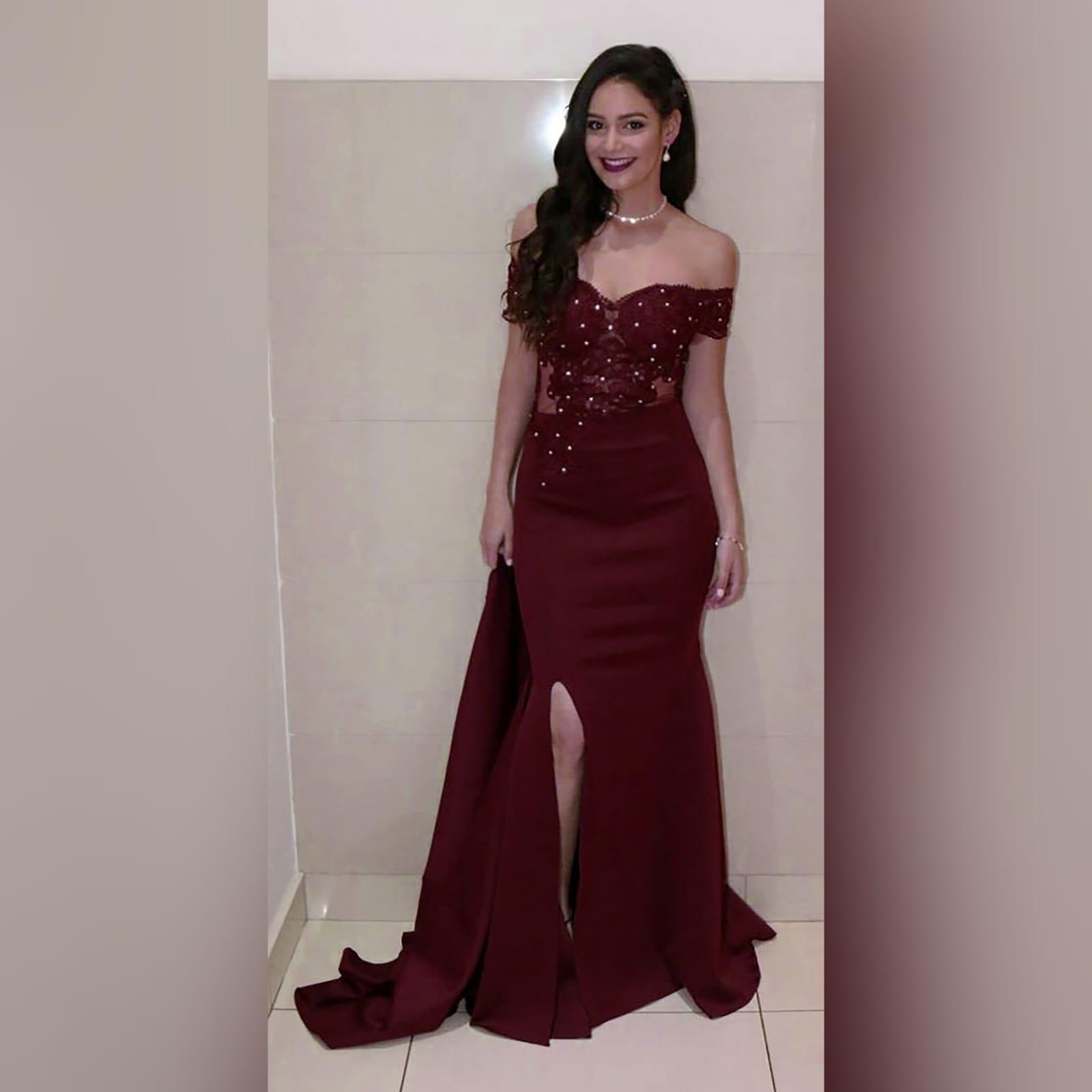 Burgundy off shoulder long prom dress 8