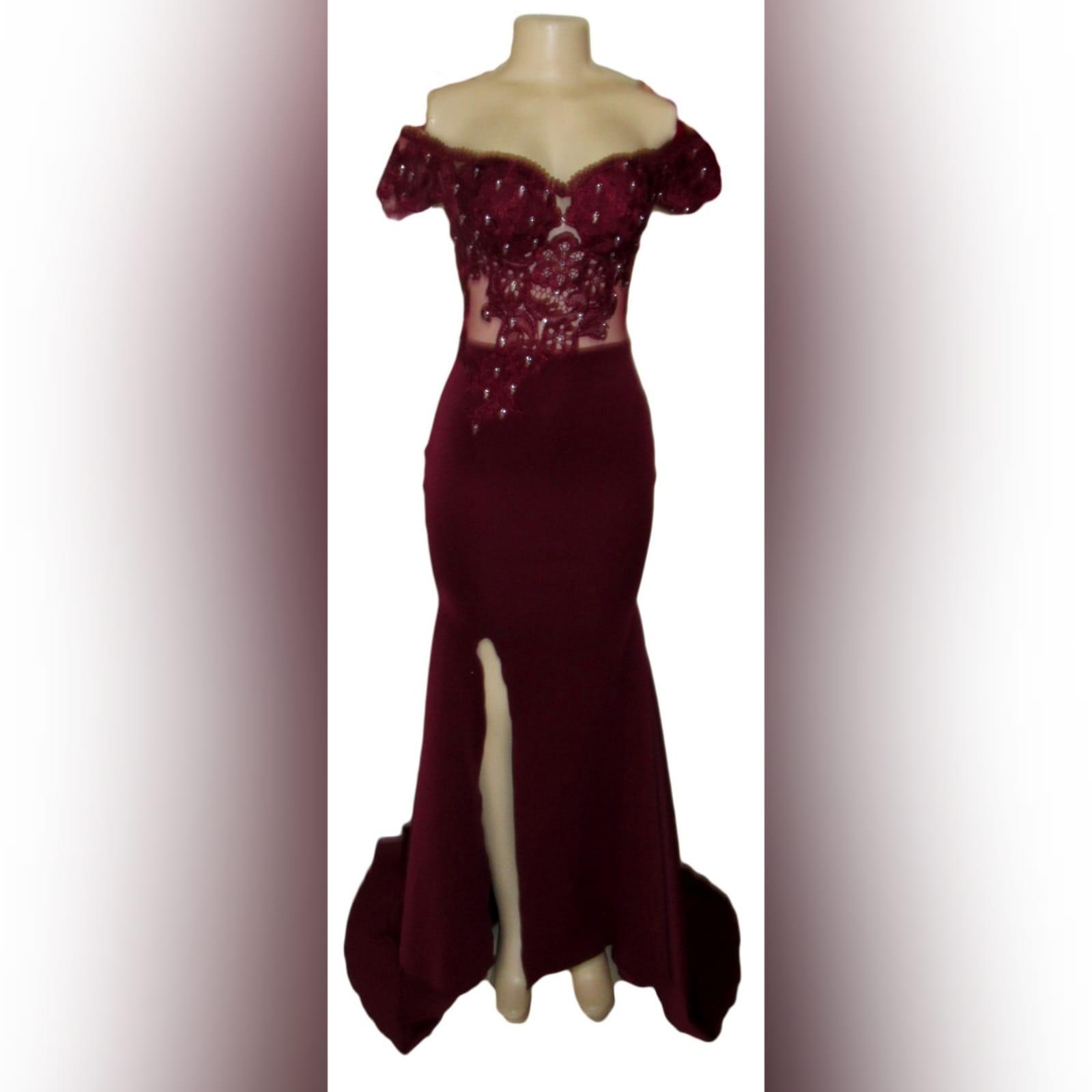 Burgundy off shoulder long prom dress 2