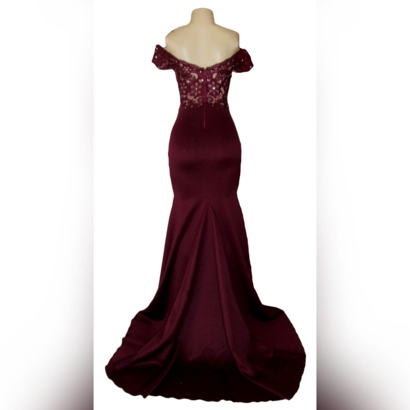 Burgundy off shoulder long prom dress 3
