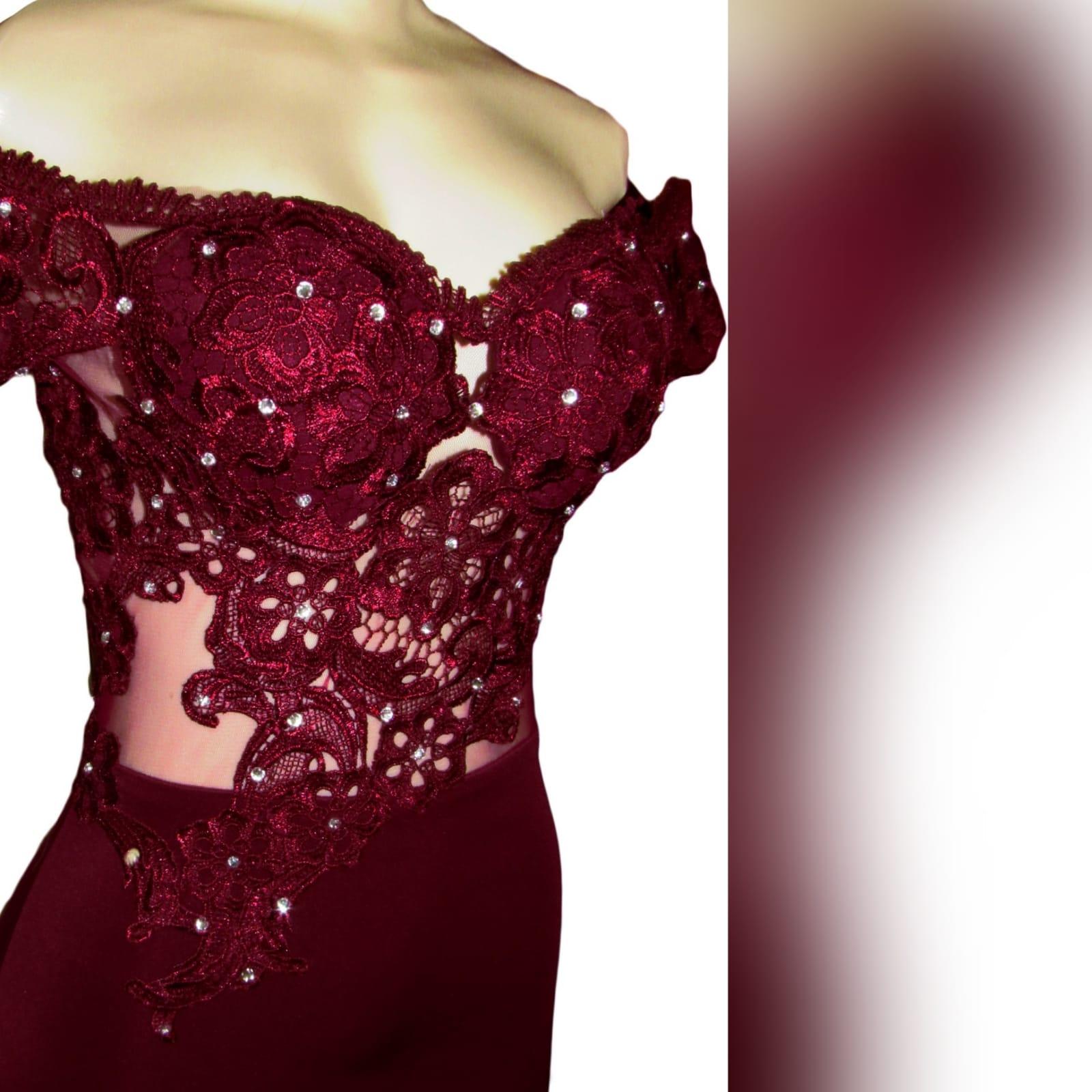 Burgundy off shoulder long prom dress 4