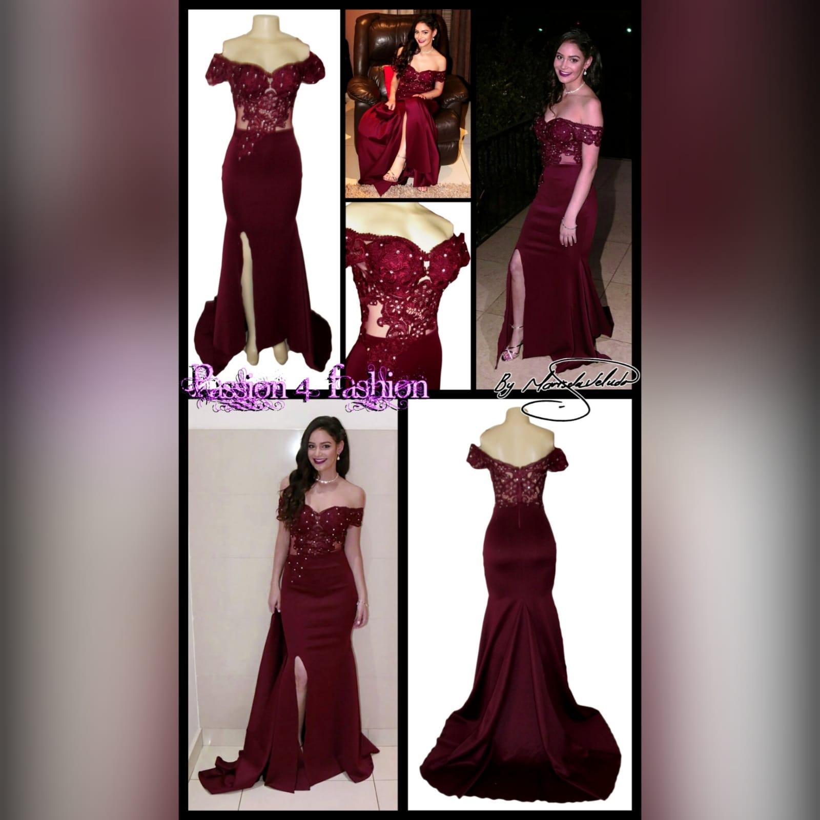 Burgundy off shoulder long prom dress 5