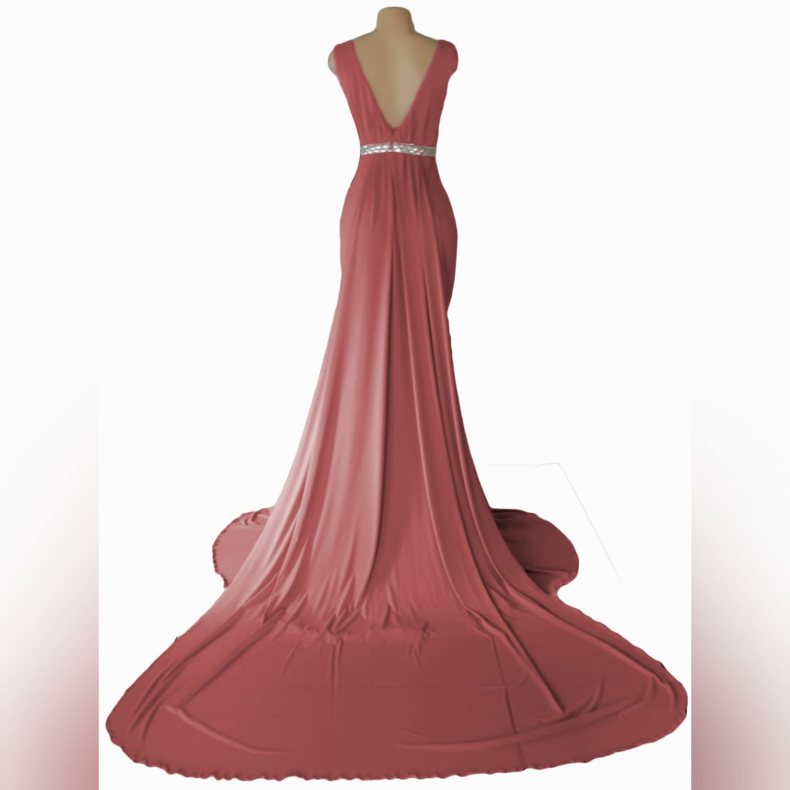 Dusty pink soft mermaid formal dress 2 this dusty pink soft mermaid formal dress was specially made for a prom dance. With a slight gather on the bodice and a rounded neckline. Dress has a double train. The long train is attached to the beaded removable belt.