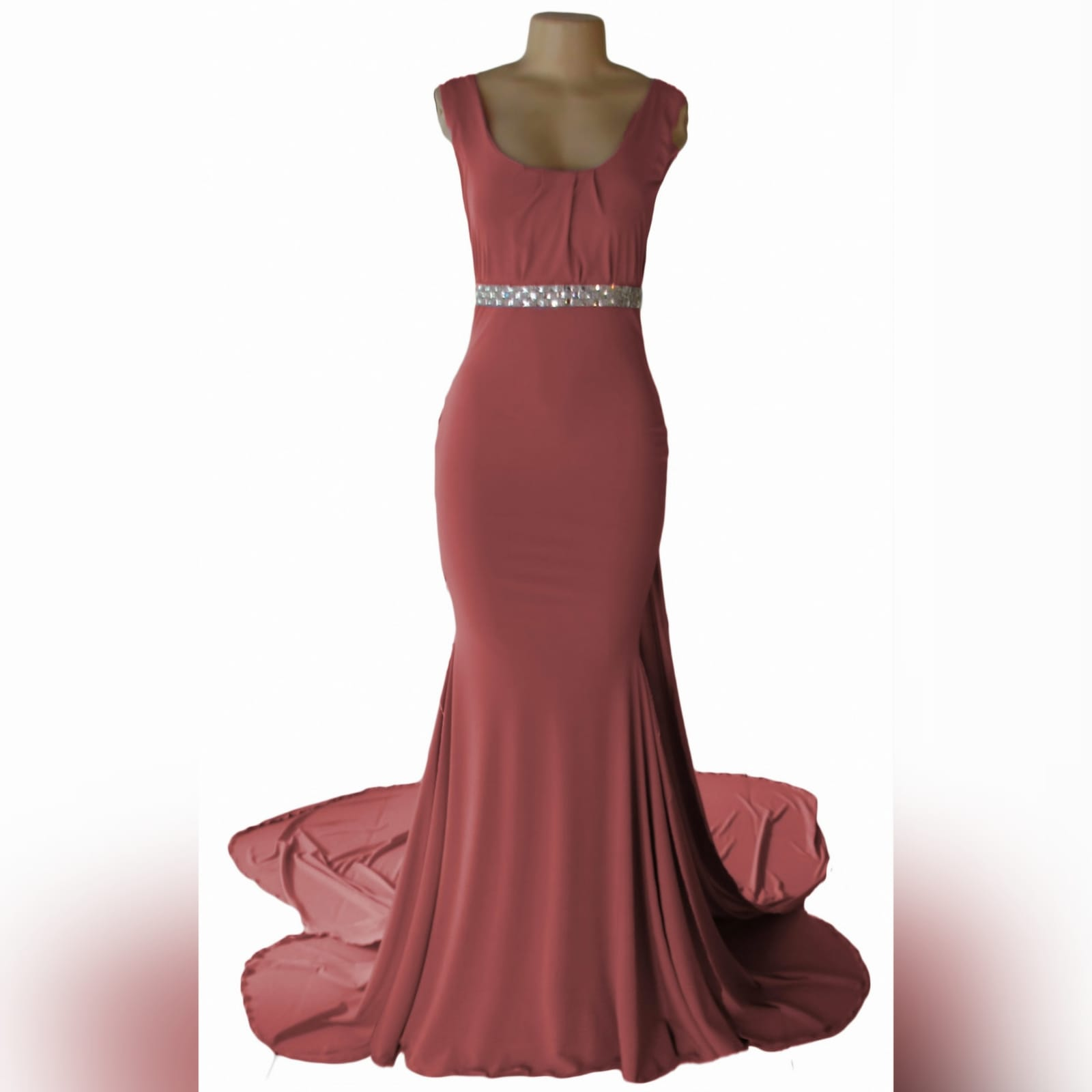 Dusty pink soft mermaid formal dress 3 this dusty pink soft mermaid formal dress was specially made for a prom dance. With a slight gather on the bodice and a rounded neckline. Dress has a double train. The long train is attached to the beaded removable belt.
