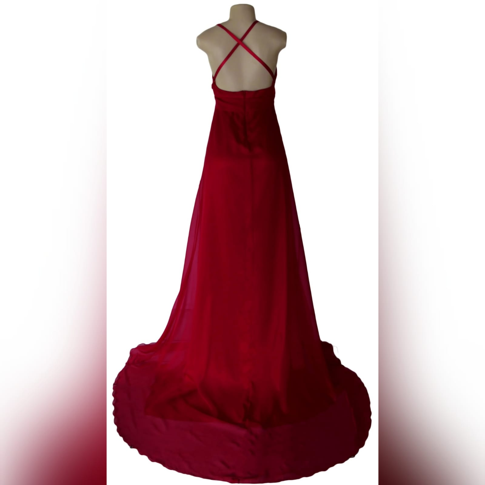 Long red flowy formal dress 3 long red flowy formal dress, with a low v neckline, low open back with crossed thin shoulder straps. Wide waist belt, high slit and a train. A design suitable for various occasions, made per measurements any colour you want.