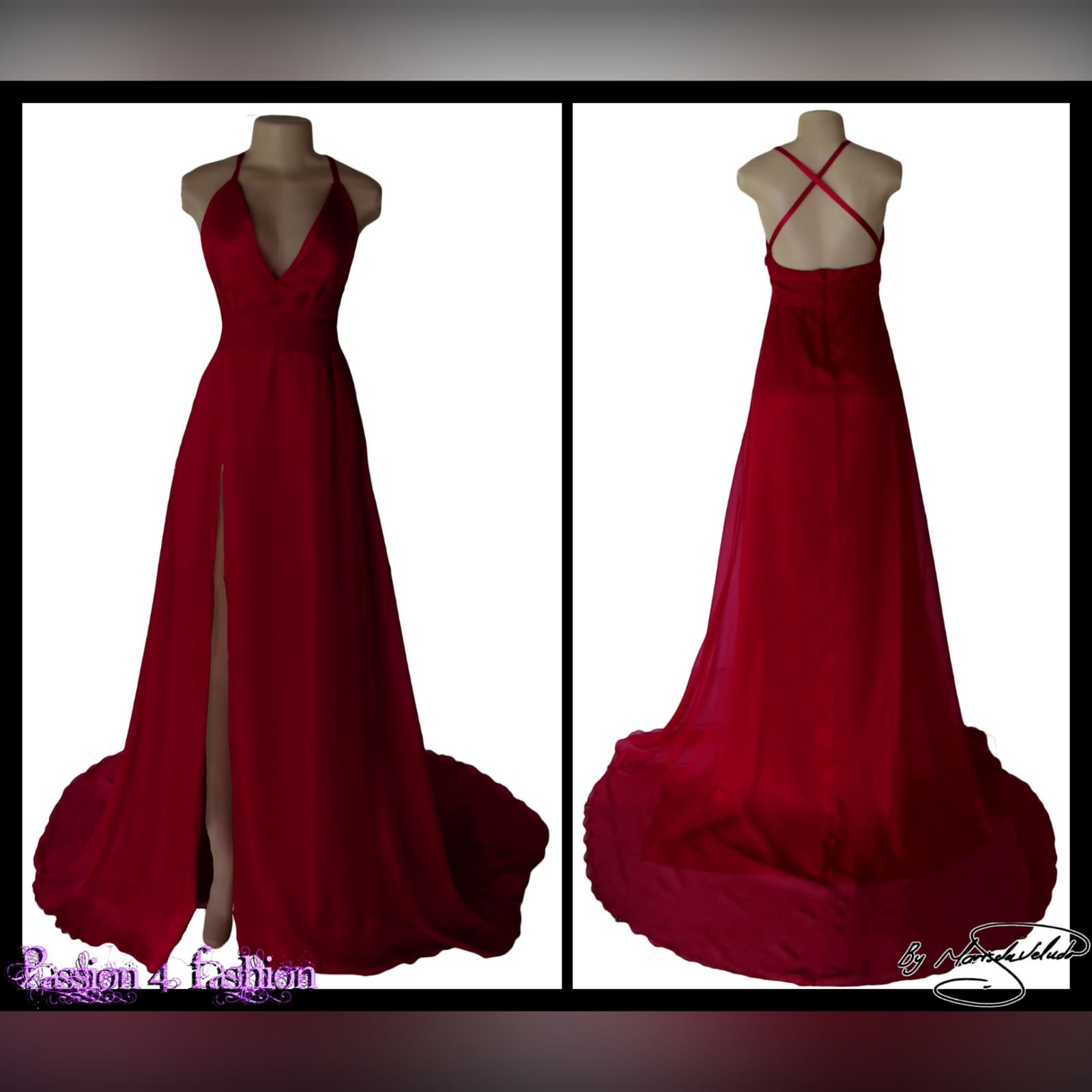Long red flowy formal dress 4 long red flowy formal dress, with a low v neckline, low open back with crossed thin shoulder straps. Wide waist belt, high slit and a train. A design suitable for various occasions, made per measurements any colour you want.