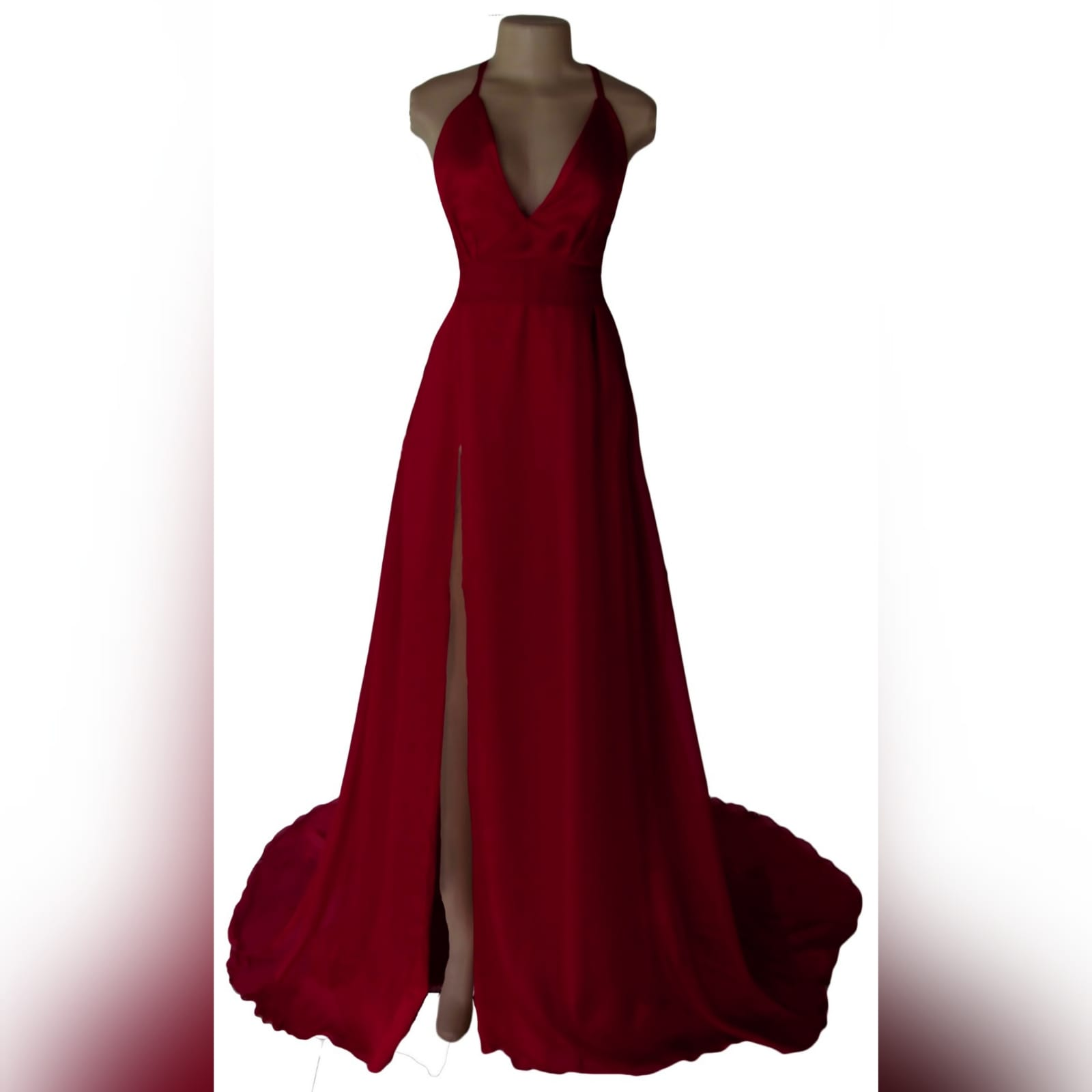 Long red flowy formal dress 1 long red flowy formal dress, with a low v neckline, low open back with crossed thin shoulder straps. Wide waist belt, high slit and a train. A design suitable for various occasions, made per measurements any colour you want.