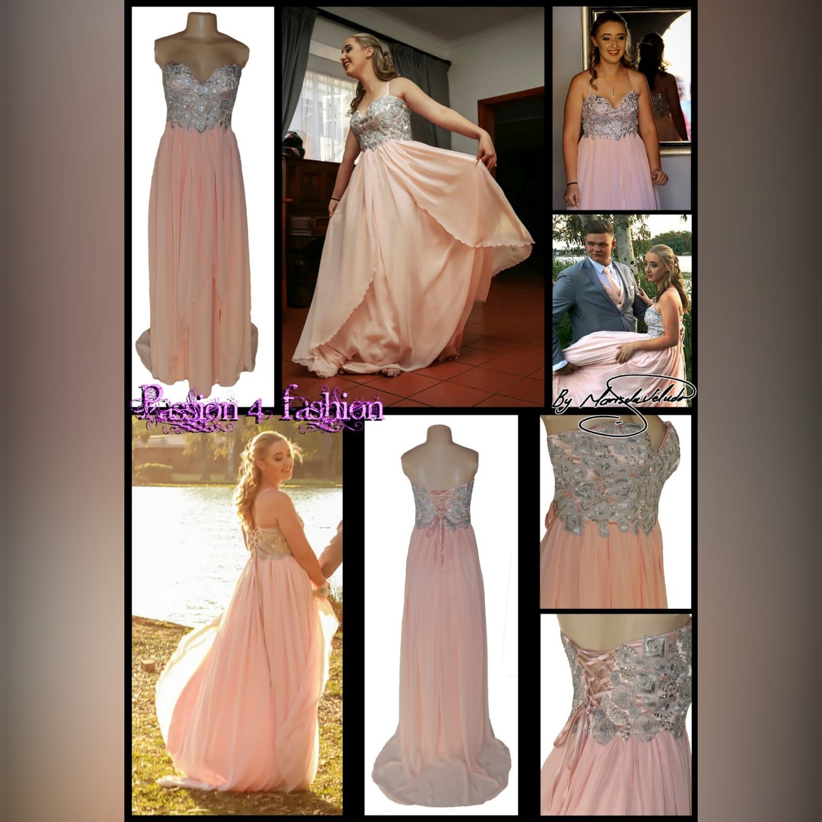 Peach and silver fun prom dress 9 peach and silver fun prom dress. Bodice detailed with appliques and beads, with a lace-up back. Bottom with gathered chiffon and an overlayer opened in front.
