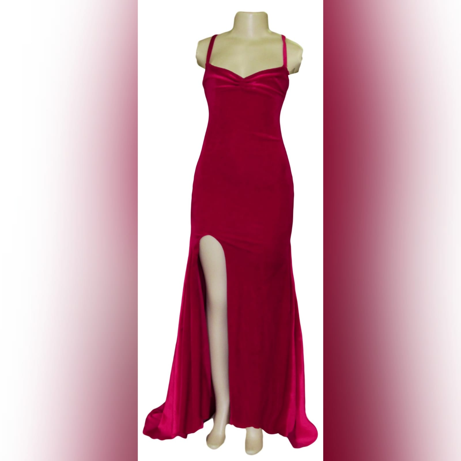Red velvet long fitted evening party dress 4 red velvet long fitted evening party dress. This design has a laceup back which adds a stunning look to it and also helps adjust the dress fit. It has a high slit and a train for a dramatic effect.