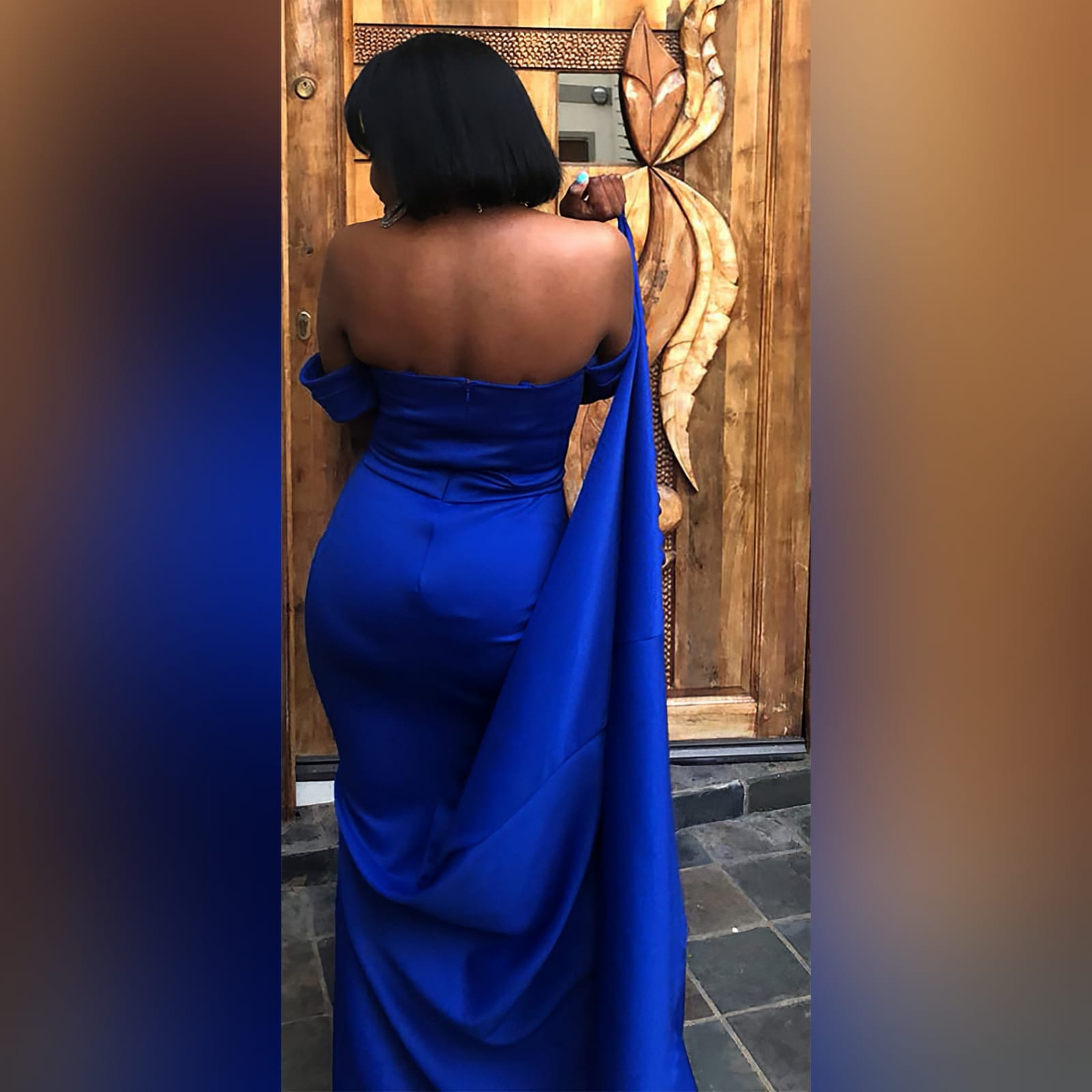 Simple royal blue soft mermaid dress 6 a simple royal blue soft mermaid dress, created for a debutantes ball. With a modern off-shoulder neckline and off-shoulder short sleeves. A belt effect to enhance the waist and a train for a touch of drama.
