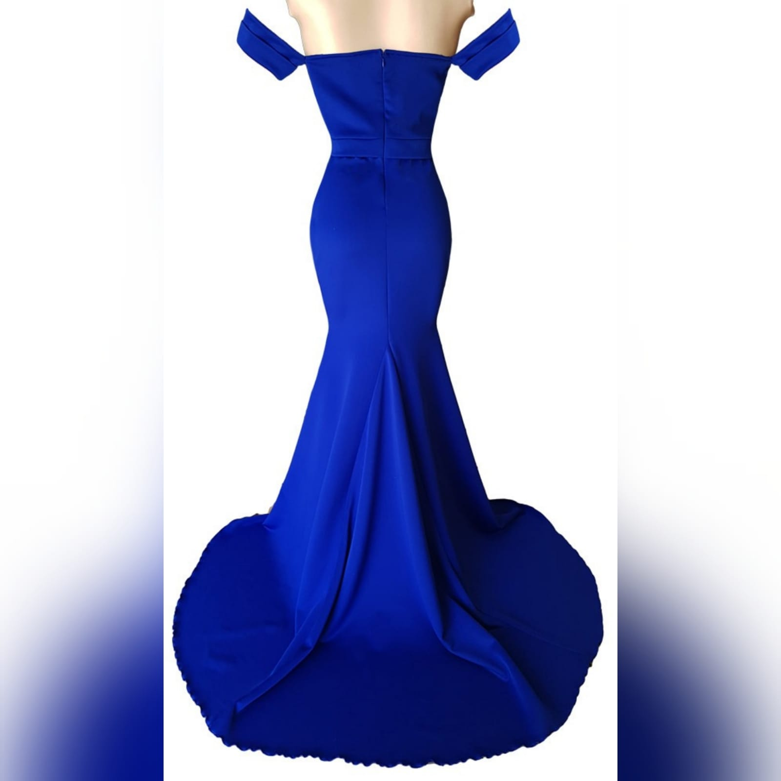 Simple royal blue soft mermaid dress 5 a simple royal blue soft mermaid dress, created for a debutantes ball. With a modern off-shoulder neckline and off-shoulder short sleeves. A belt effect to enhance the waist and a train for a touch of drama.