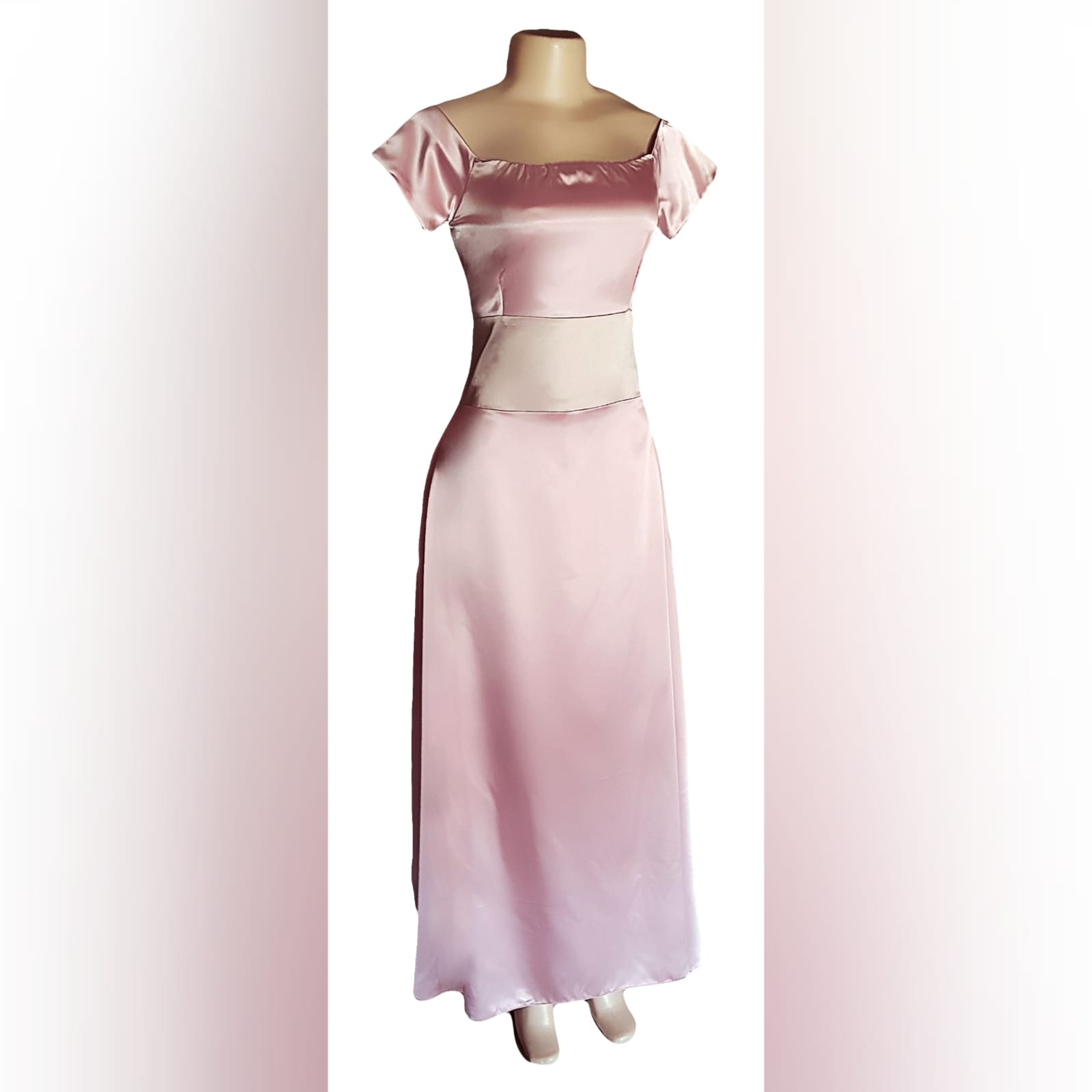 An elegant simple and sophisticated pink and champagne formal dress 8 an elegant, simple and sophisticated pink and champagne formal dress, created for a wedding ceremony. This design was created with a light wear satin, off-shoulder neckline and short sleeves, and a wide champagne belt. Created for a client in south africa.