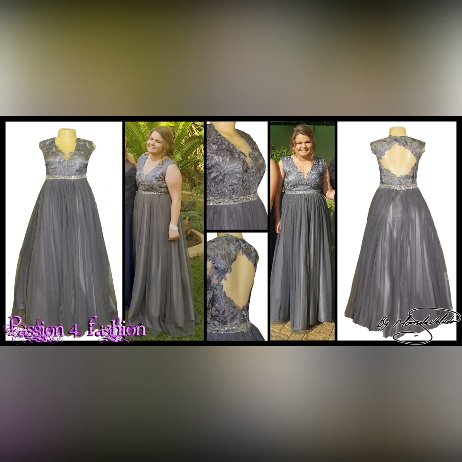 Grey long formal dress for a prom night 4