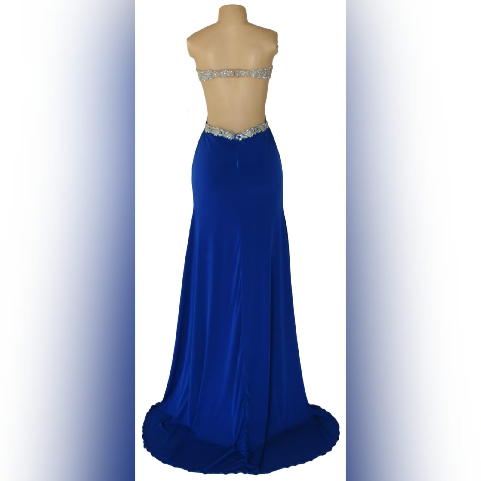 Royal blue and silver sexy ceremony dress 5 royal blue and silver sexy ceremony dress. Designed and made for a prom dance. With a lace and beaded boobtube bodice, a naked back and flowy bottom with a slit and a train.