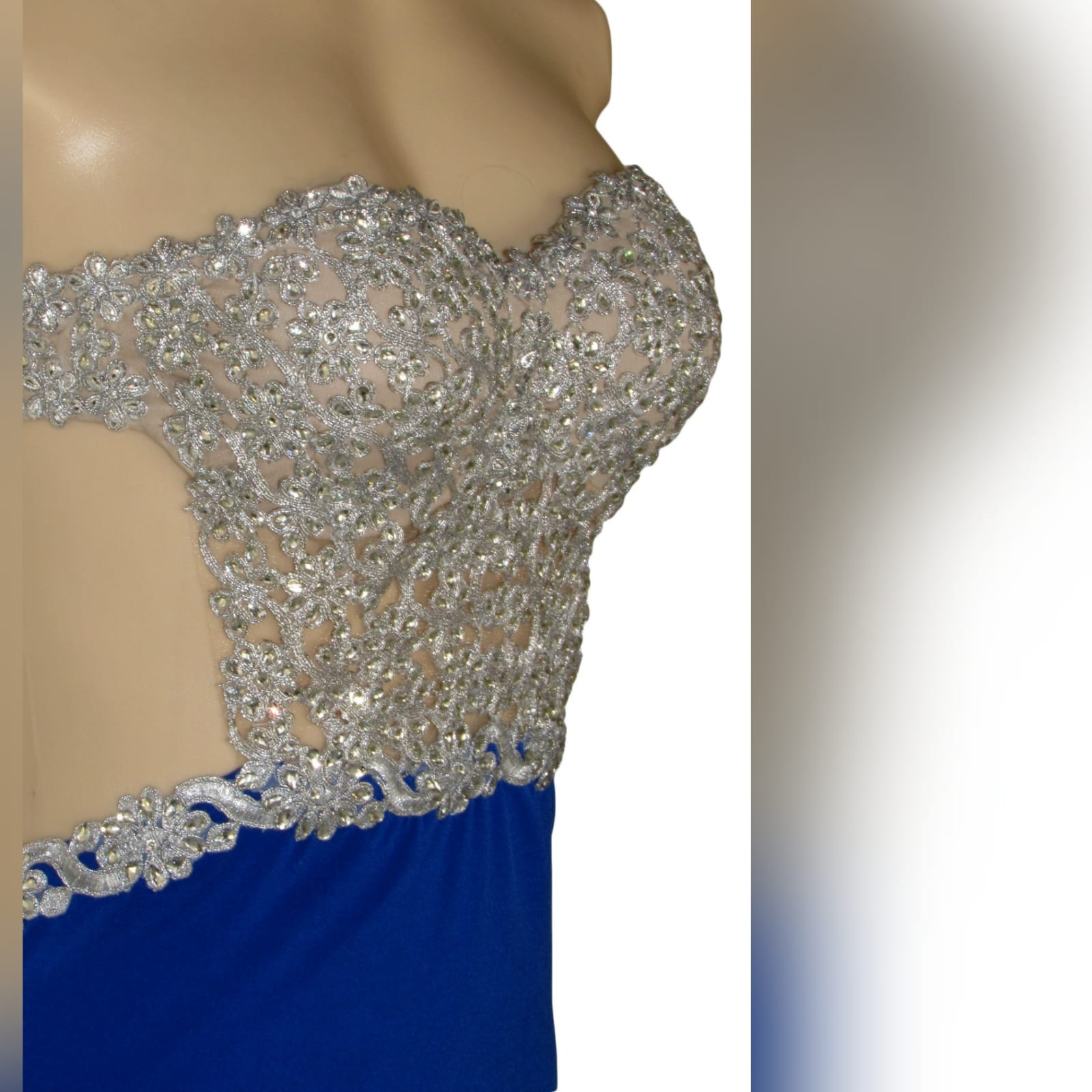 Royal blue and silver sexy ceremony dress 2 royal blue and silver sexy ceremony dress. Designed and made for a prom dance. With a lace and beaded boobtube bodice, a naked back and flowy bottom with a slit and a train.
