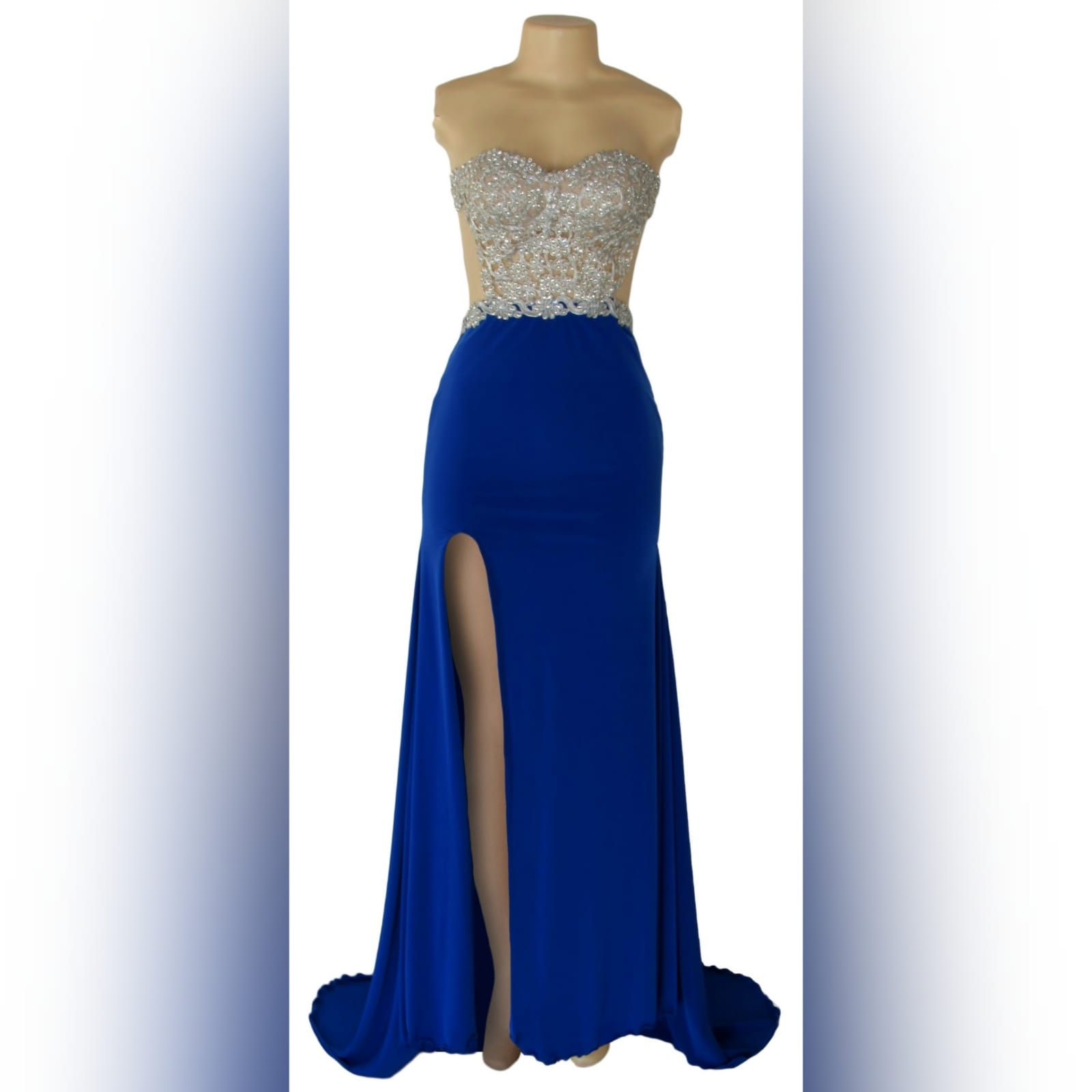 Royal blue and silver sexy ceremony dress 4 royal blue and silver sexy ceremony dress. Designed and made for a prom dance. With a lace and beaded boobtube bodice, a naked back and flowy bottom with a slit and a train.