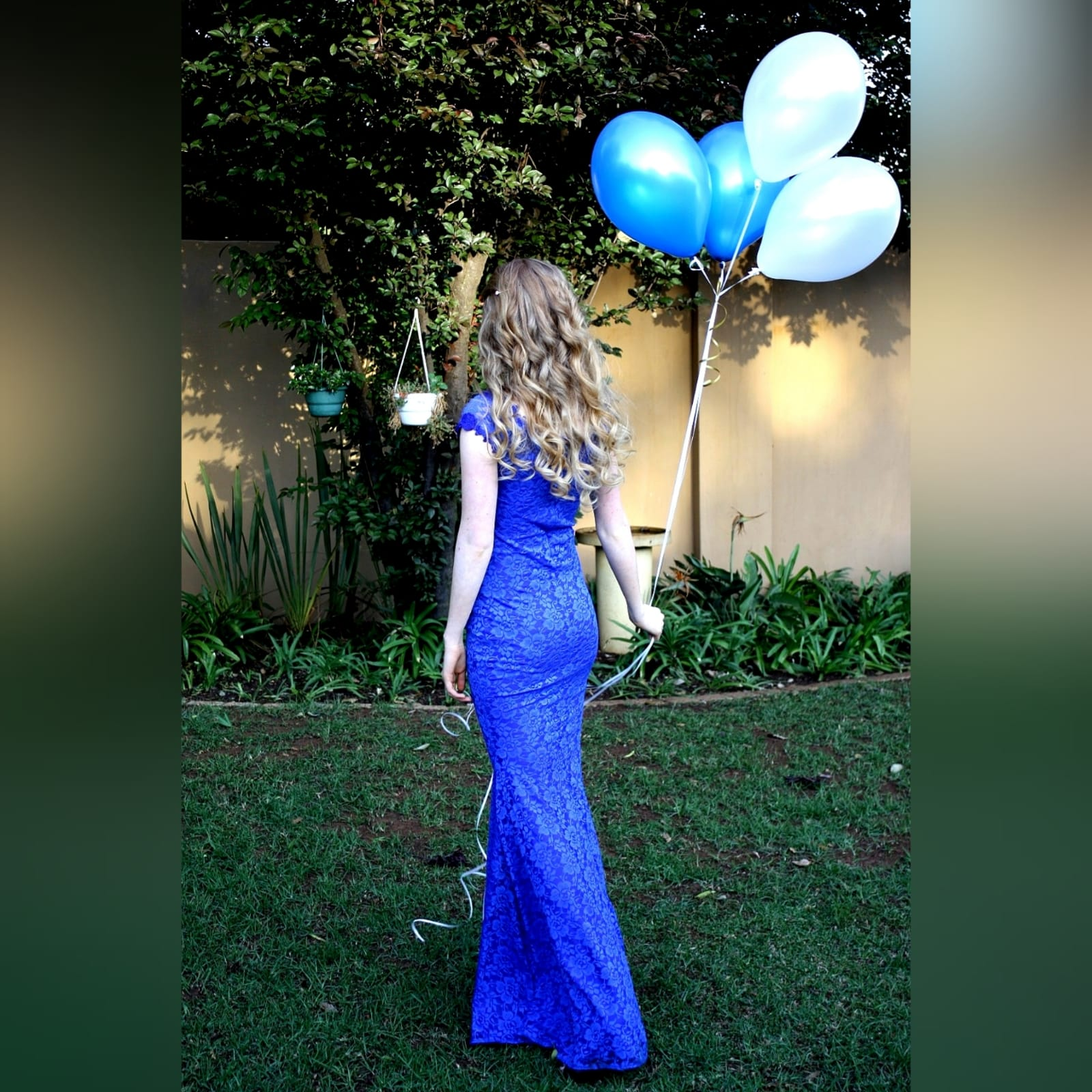 Royal blue fully lace prom dress 1 royal blue fully lace prom dress. An elegant simple design fitted till the hip with a slight flare. An off-shoulder neckline and cap sleeves detailed with guipure lace.