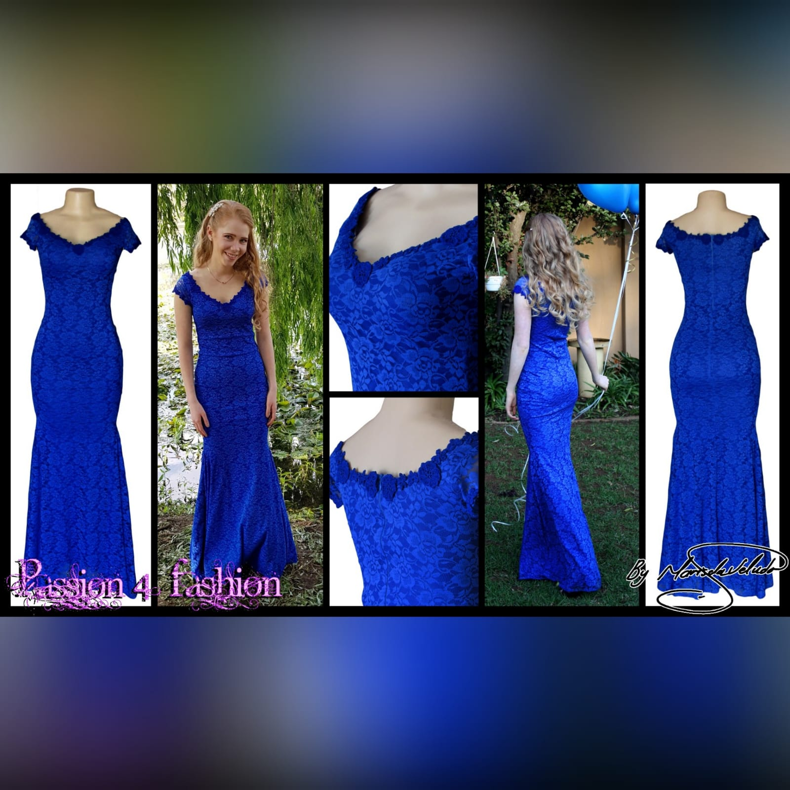Royal blue fully lace prom dress 3 royal blue fully lace prom dress. An elegant simple design fitted till the hip with a slight flare. An off-shoulder neckline and cap sleeves detailed with guipure lace.