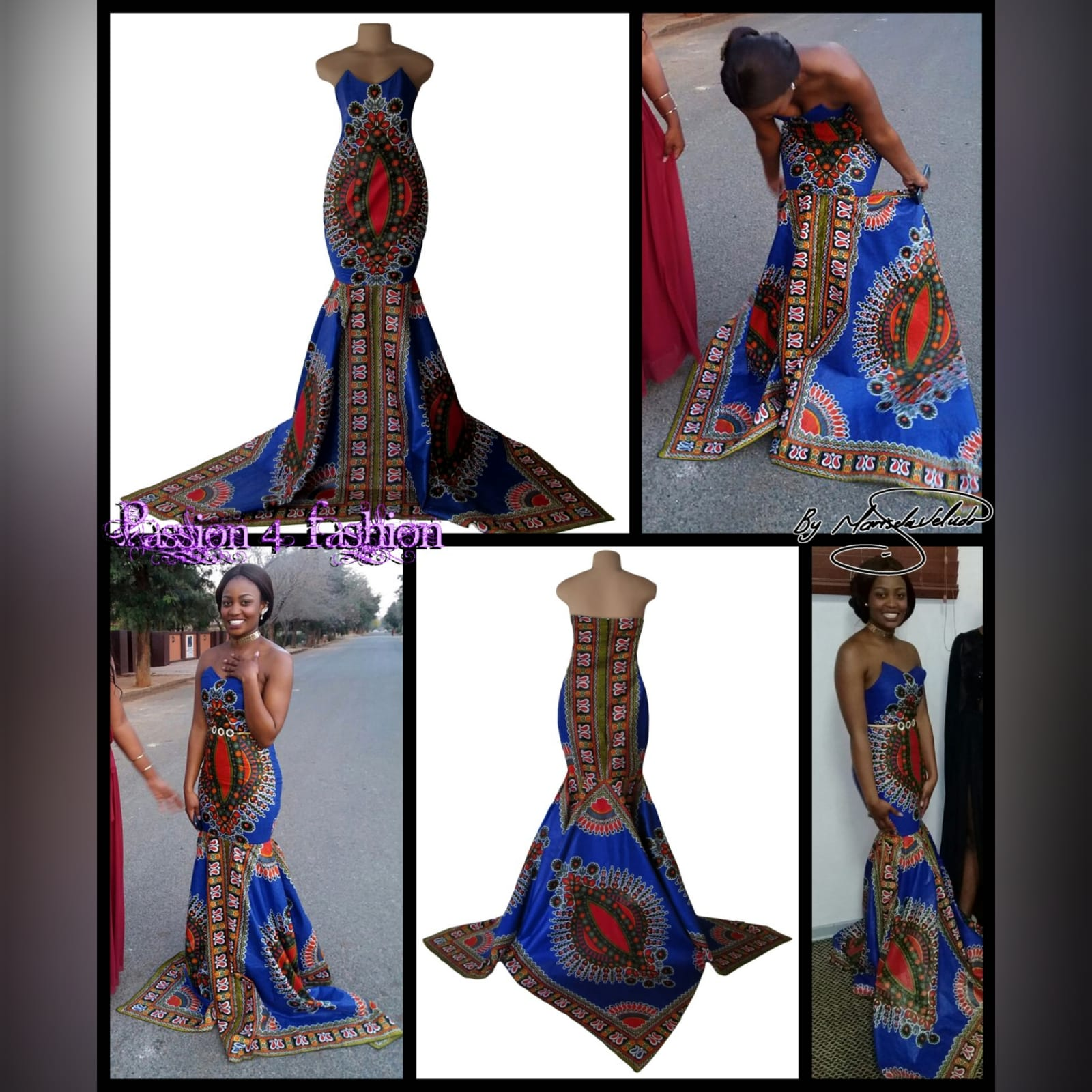 Soft mermaid formal printed dress 6 soft mermaid formal printed dress was worn for a special occasion. This mermaid dress is made with a traditional dashiki print, with a 3 point train.
